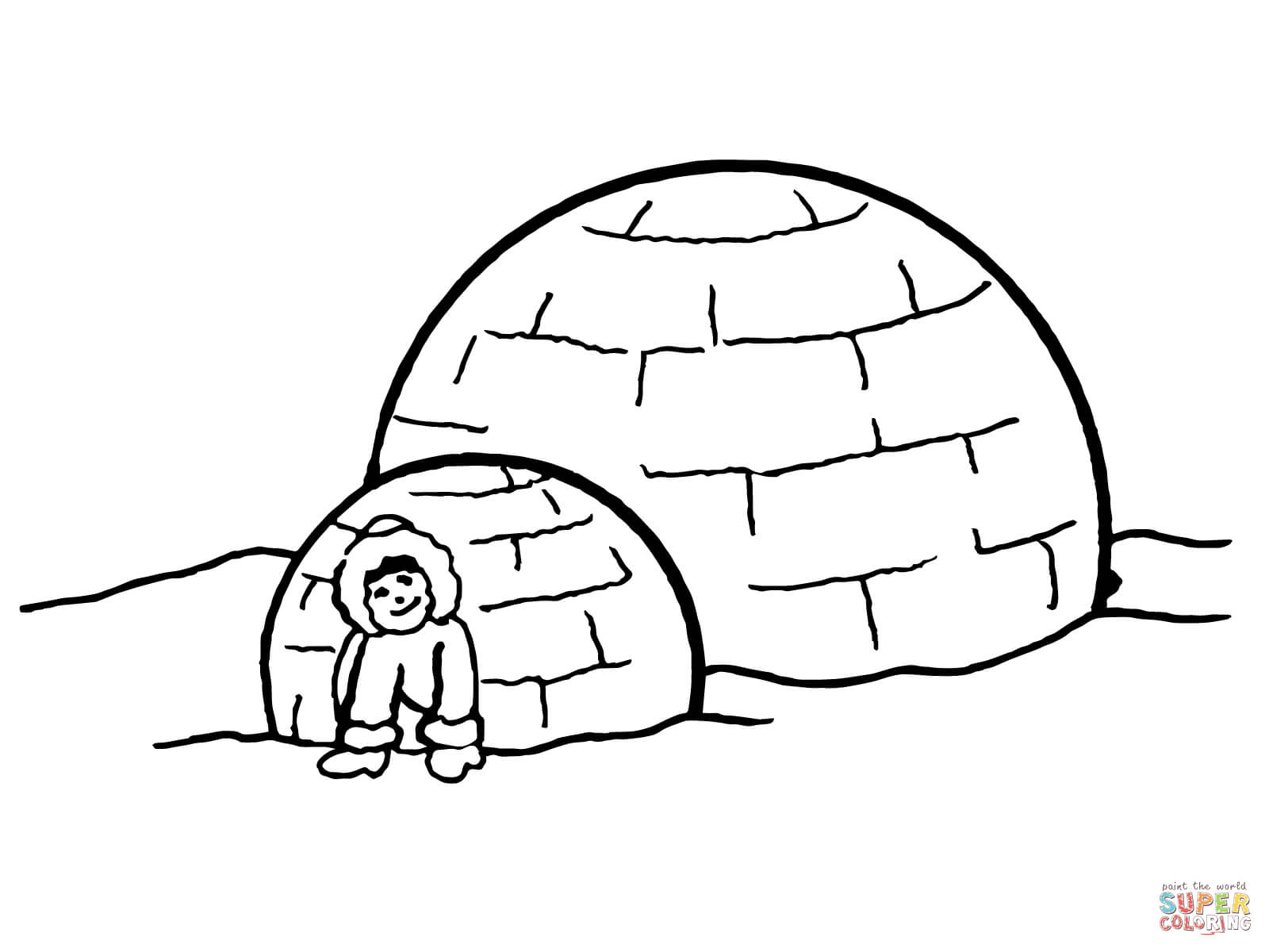Inuit Igloo Coloring Page