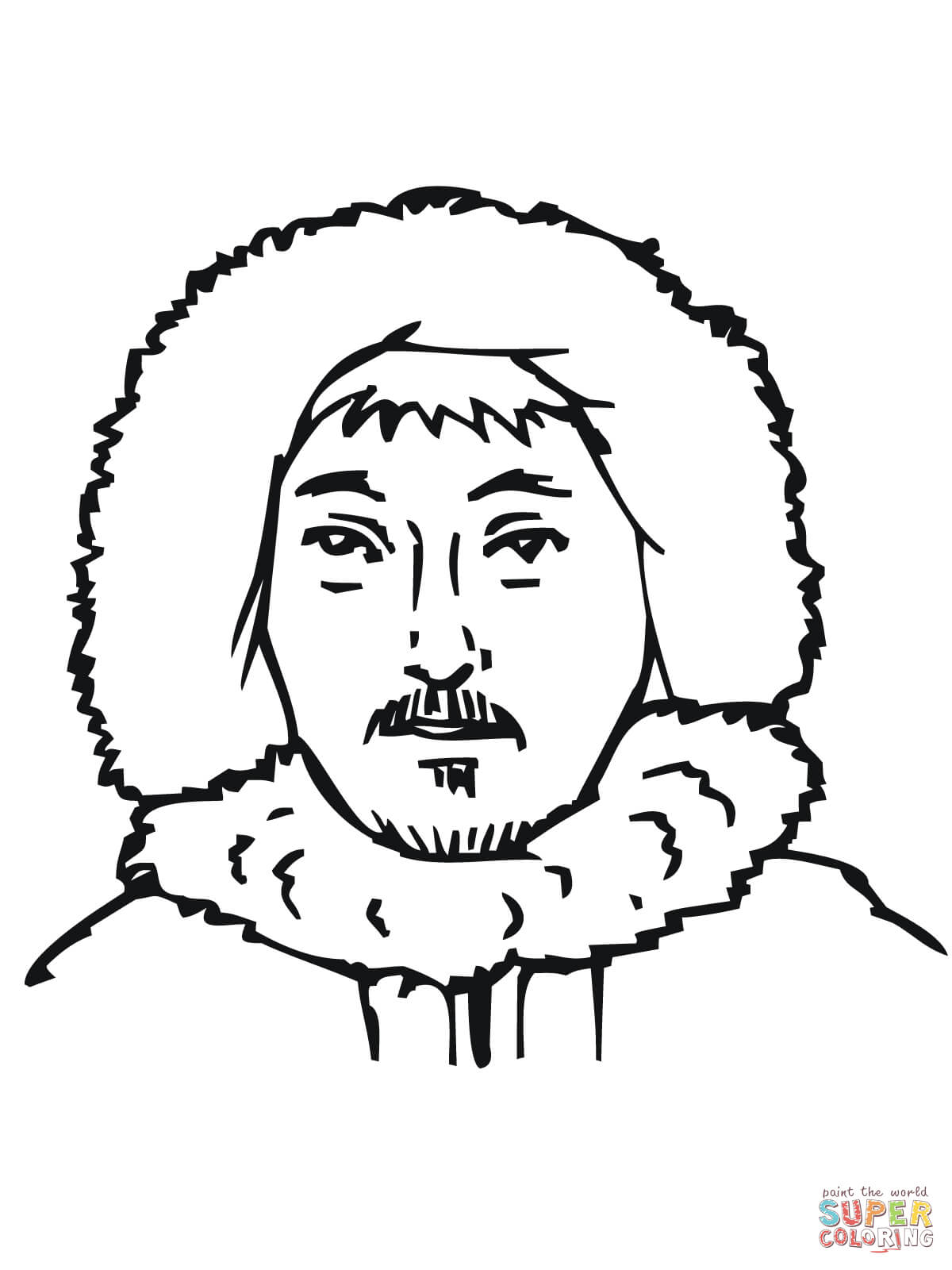 eskimo coloring page fishing com traditional clothing coloring