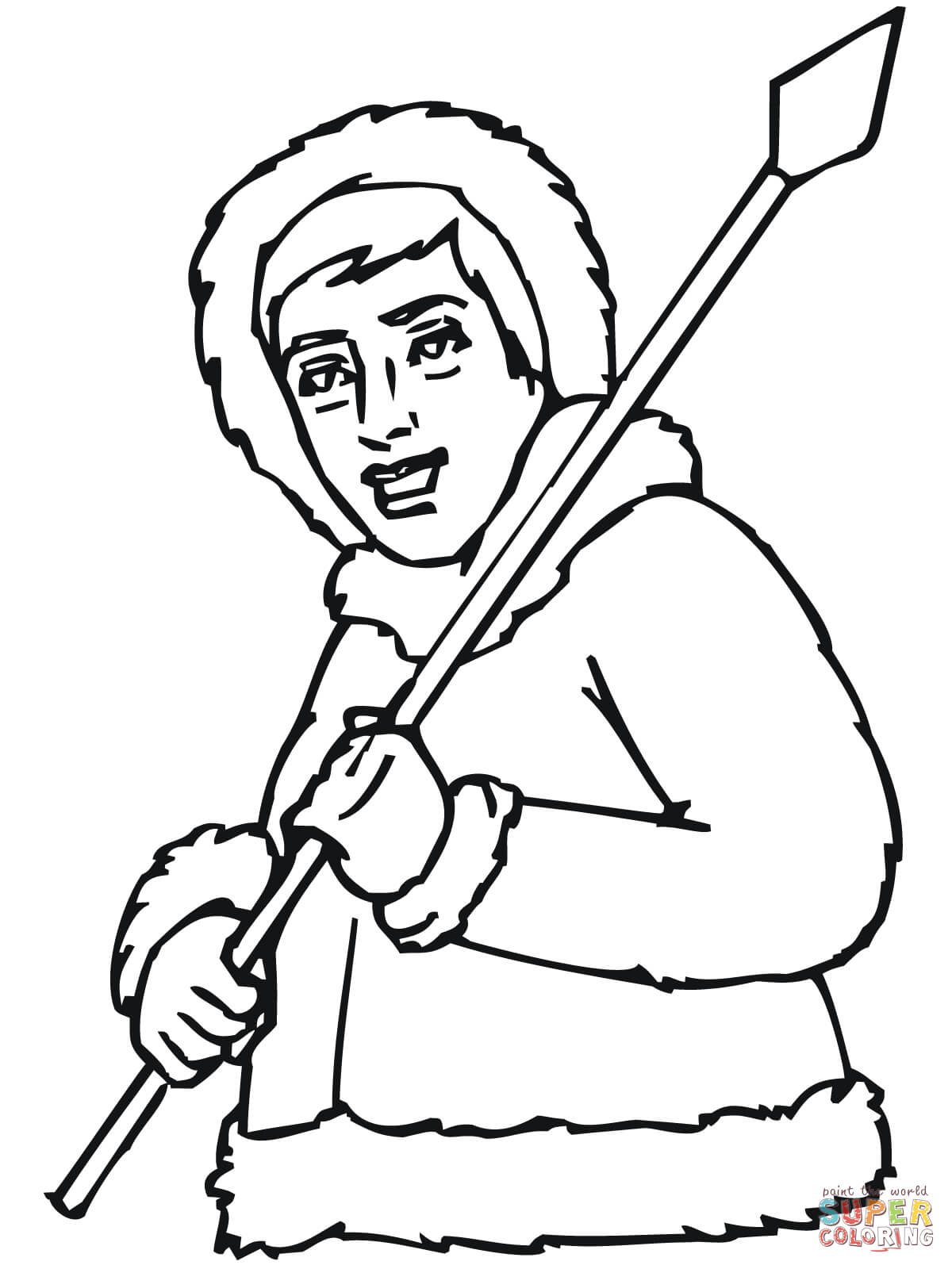Inuit With Spear Coloring Page