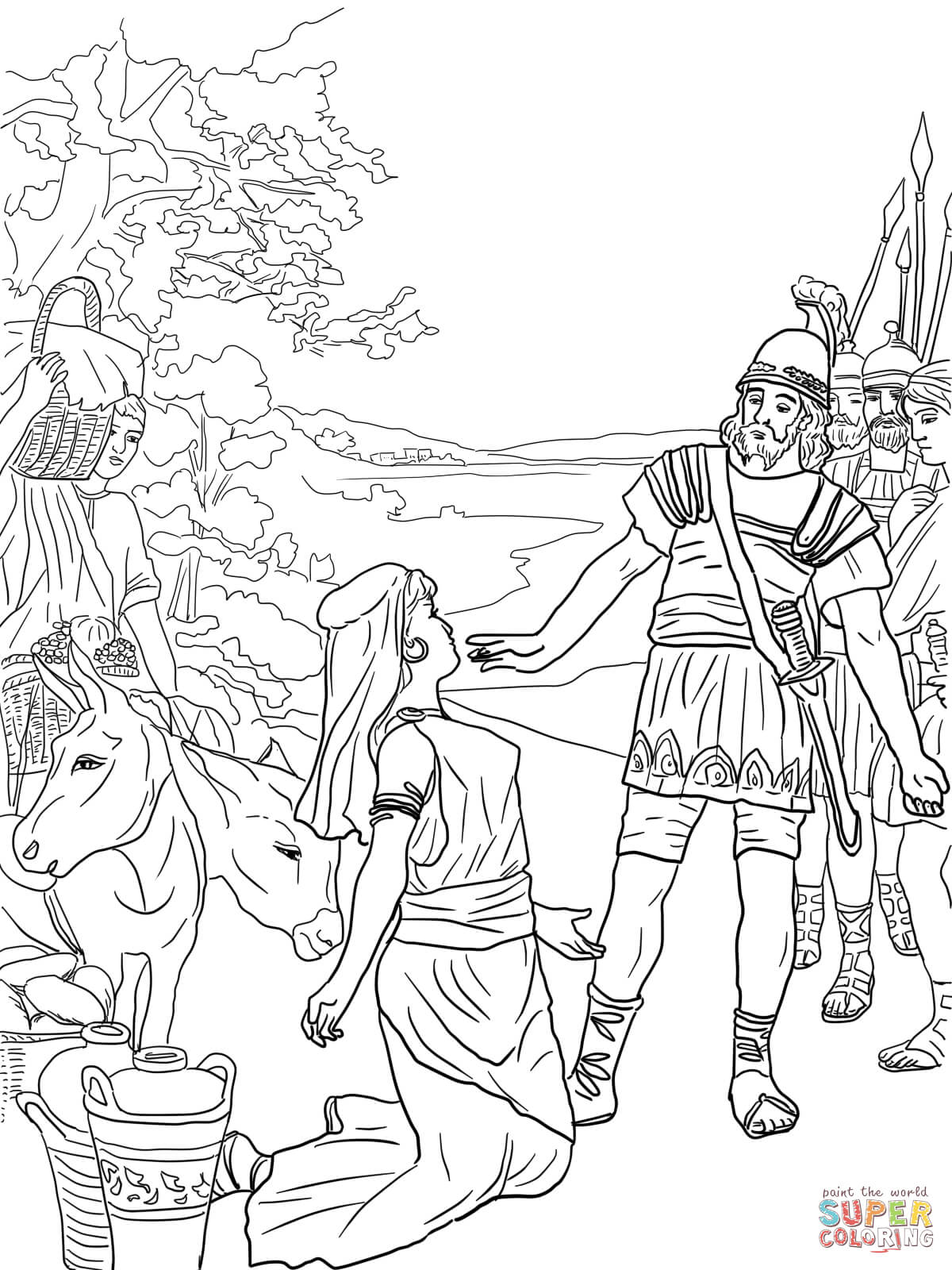 David and abigail coloring page free printable coloring pages