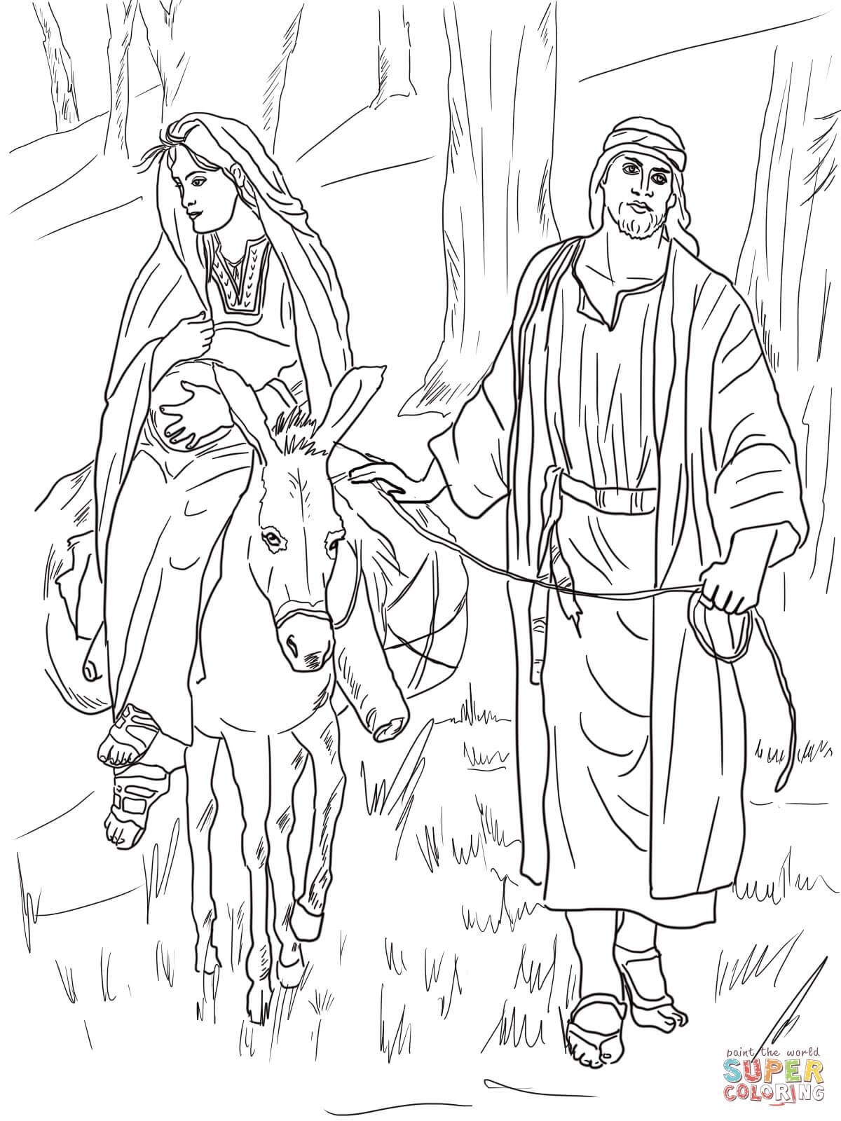 Dibujo De Maria Y Jose Camino A Belen Para Colorear