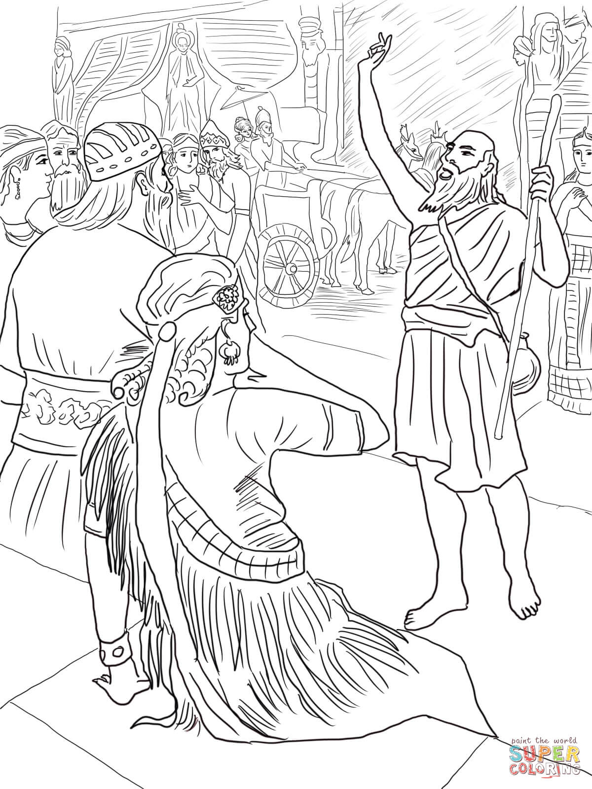 Jonah In Nineveh Coloring Page