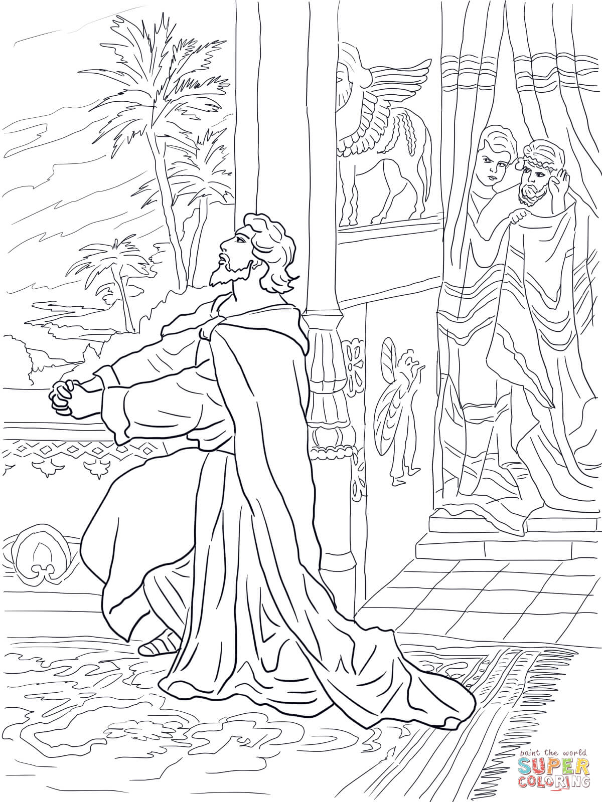 Daniel Praying To God Coloring Page