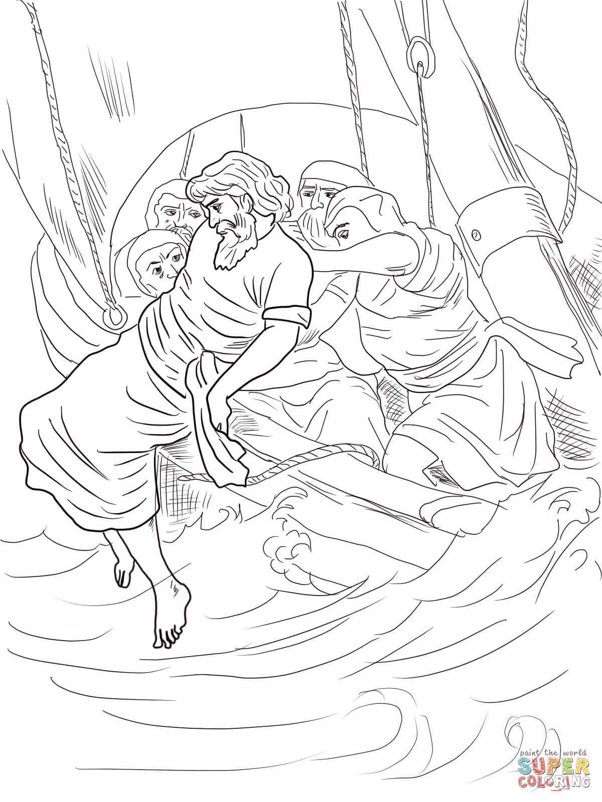 Jonah Thrown Overboard Coloring Page