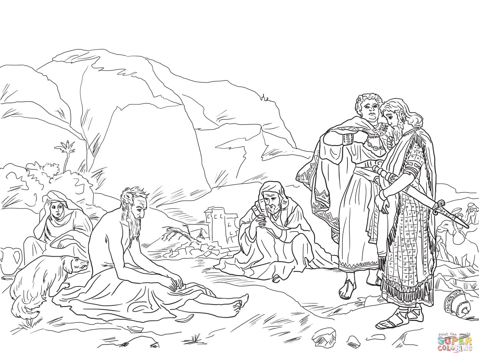 Job And His Friends Coloring Page