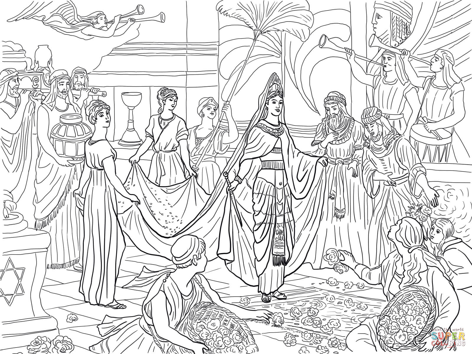 The Arrival Of The Queen Of Sheba Coloring Page
