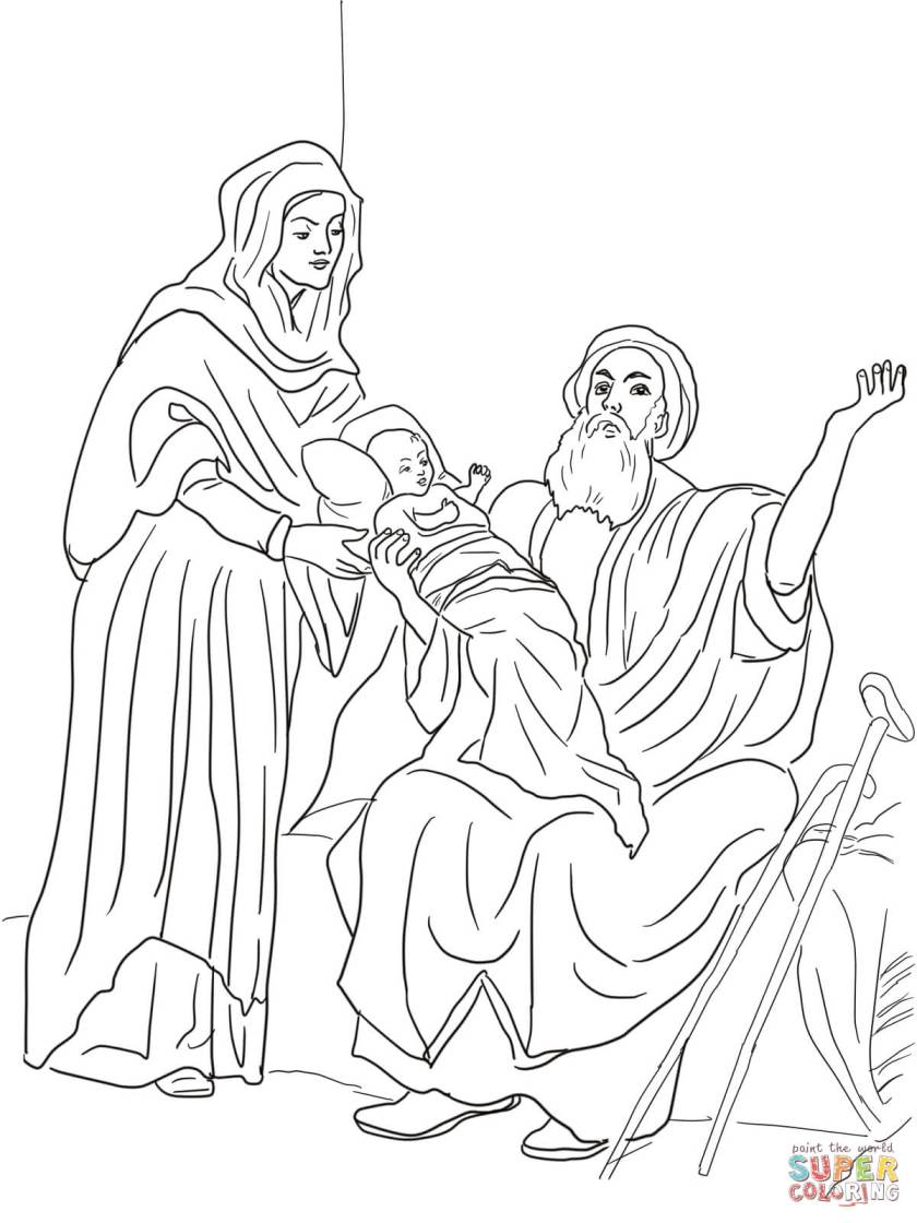 baby jesus in the temple coloring page  free printable