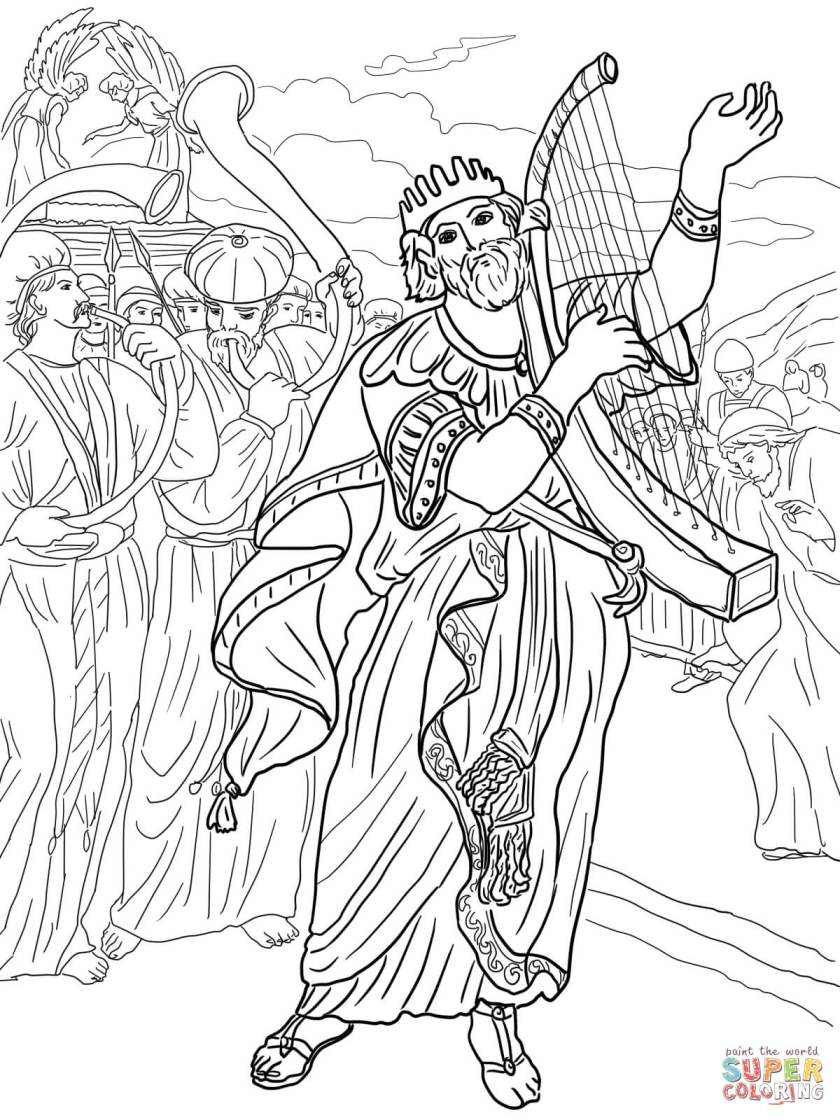 david brings the ark to jerusalem coloring page  free