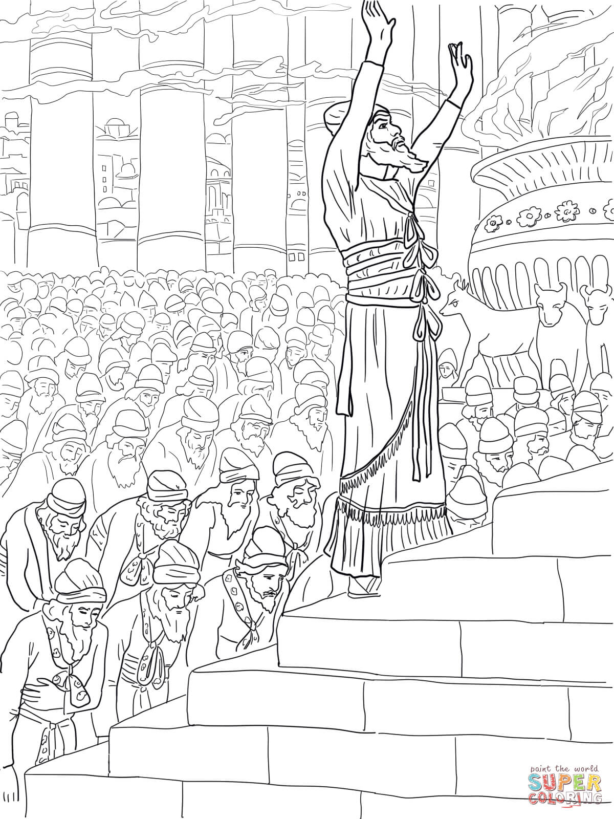 Solomon Prayer In The Temple Coloring Page
