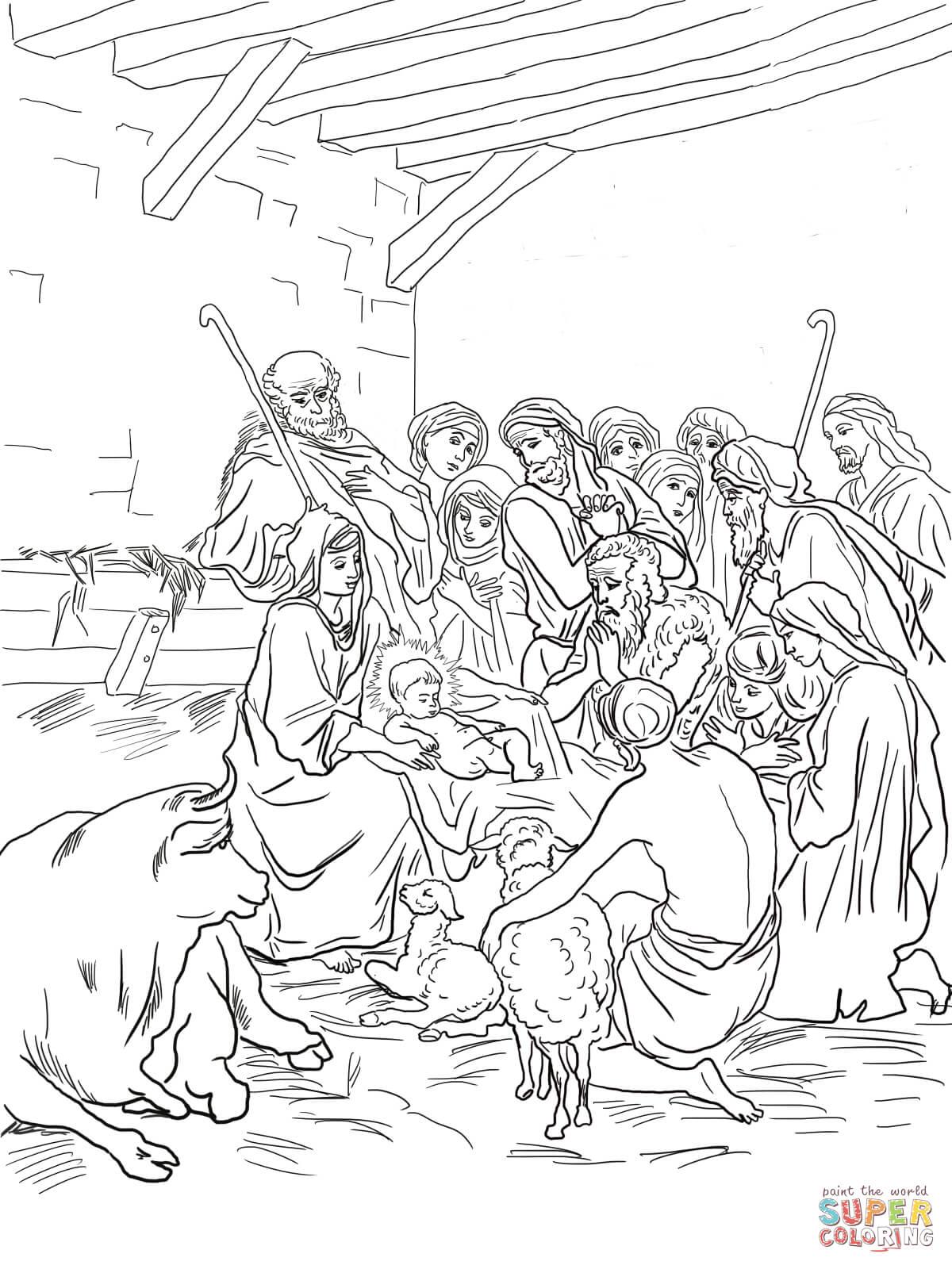 Nativity Scene With Holy Family Shepherds And Animals
