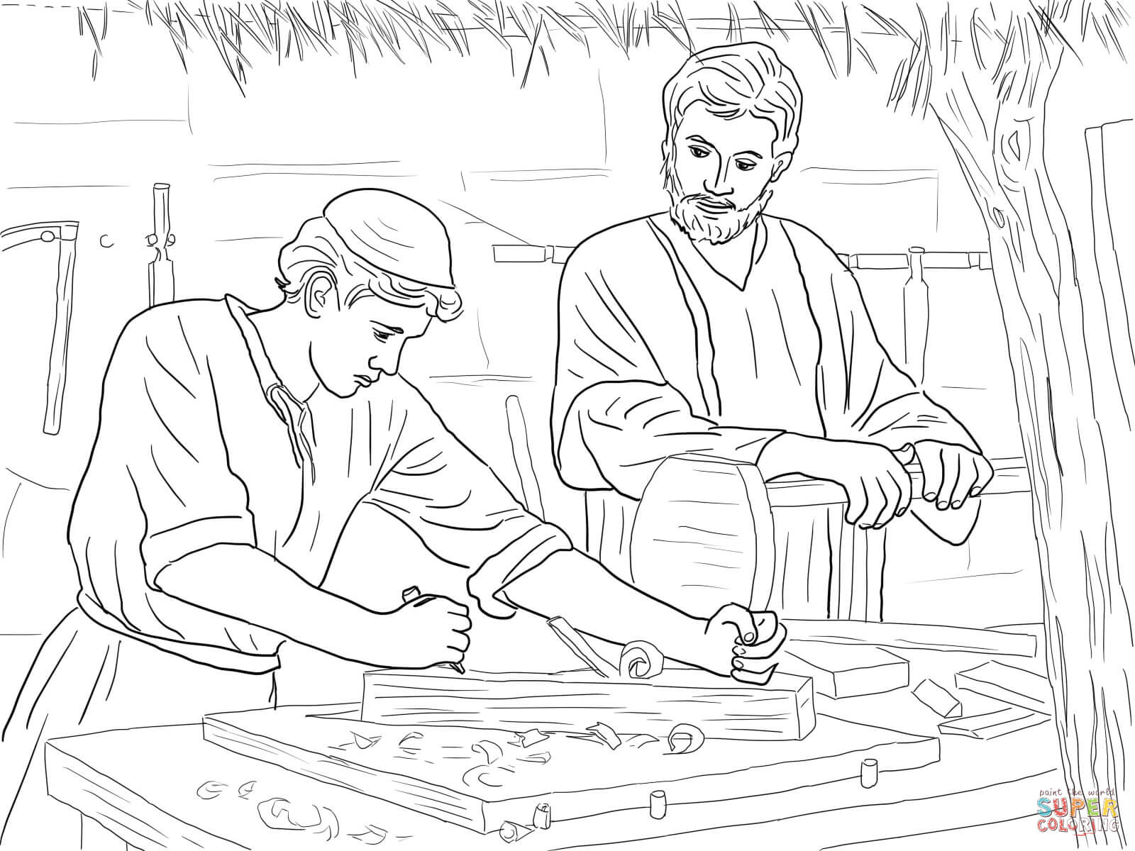 Jesus Christ The Son Of A Carpenter Coloring Page