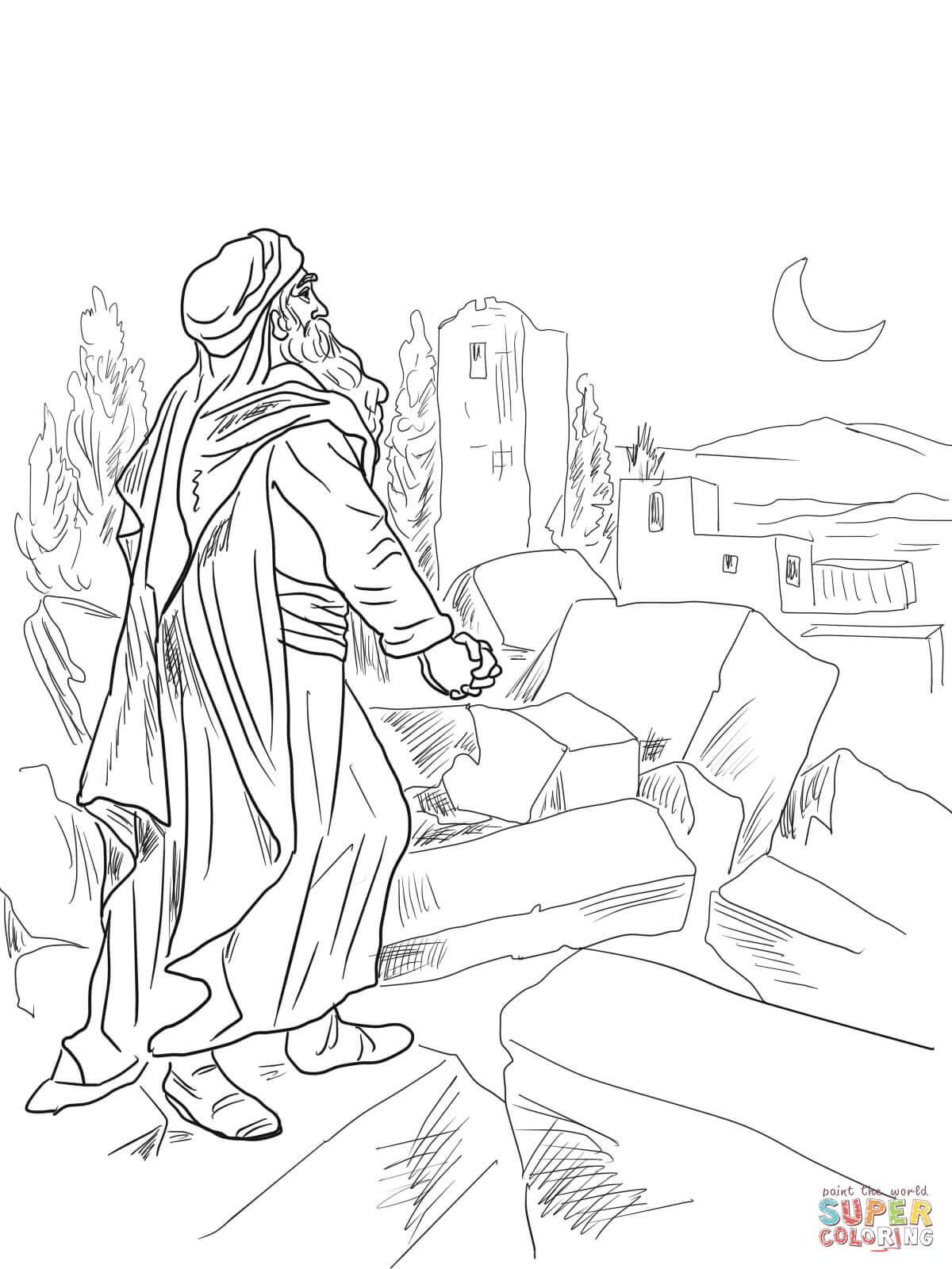 Nehemiah Observing Broken Walls Of Jerusalem Coloring Page