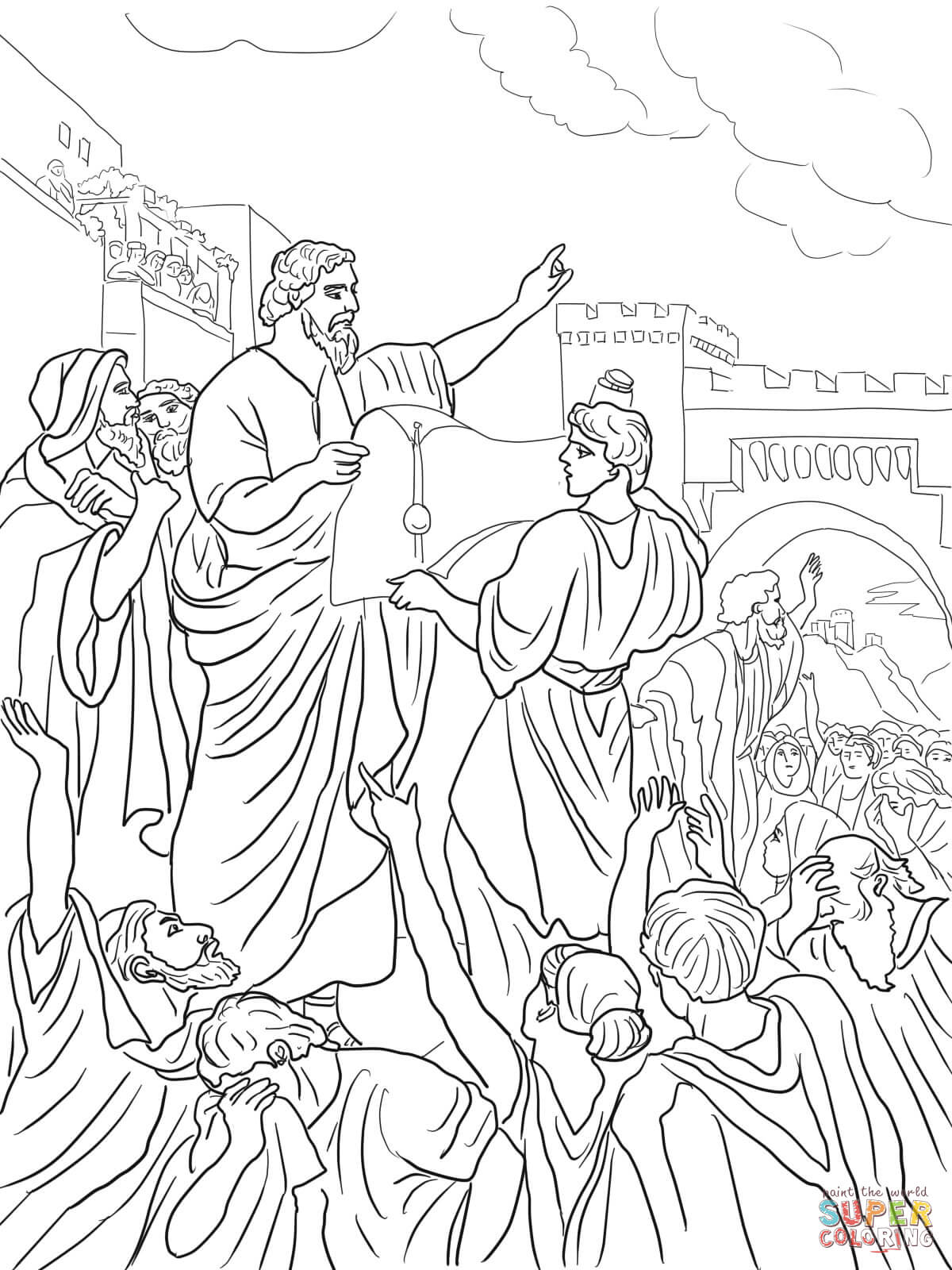 Ezra Reading The Torah Scroll Coloring Page
