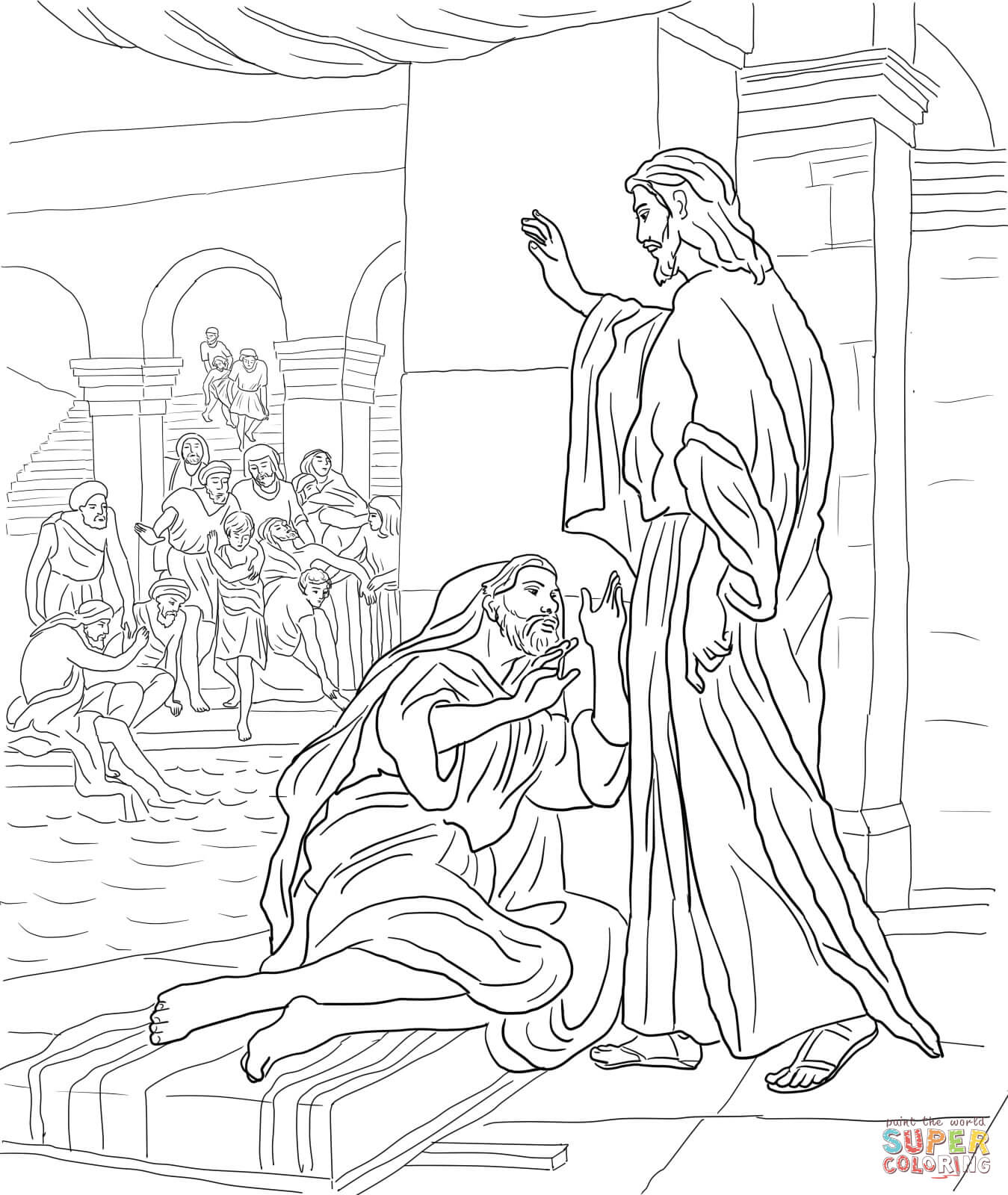 at the pool of bethesda coloring page free printable coloring pages