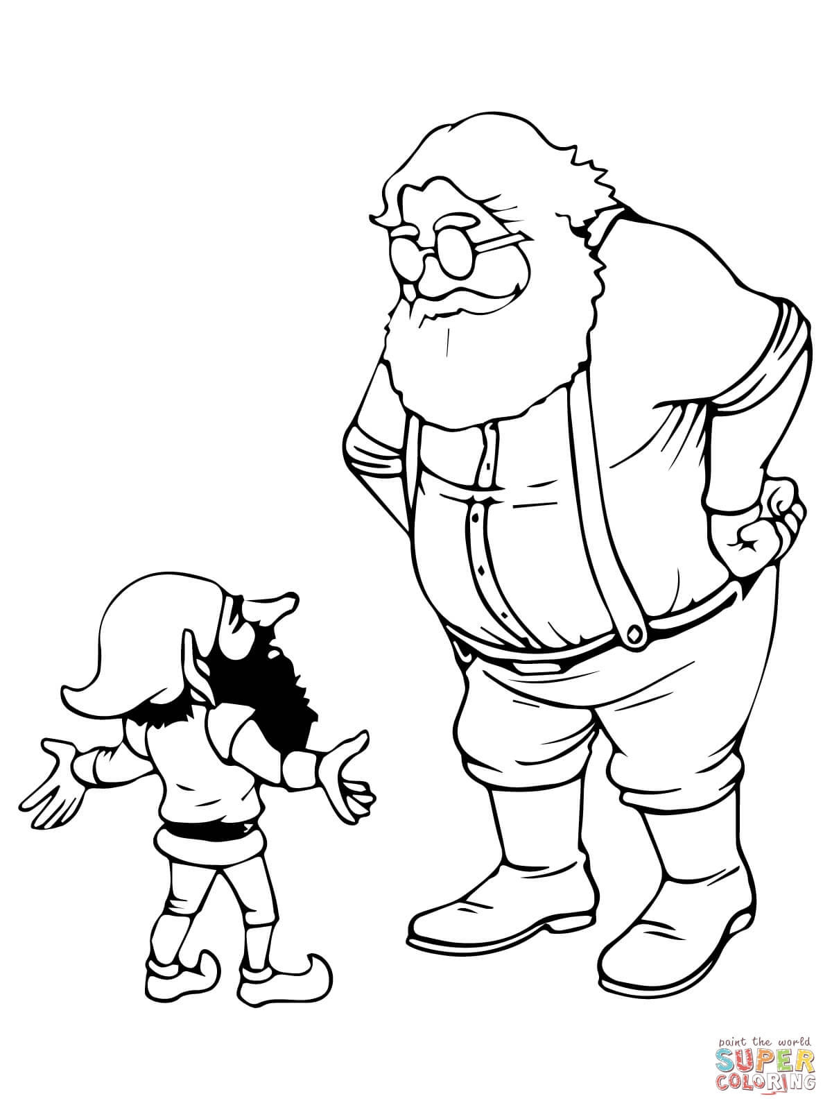 Santa And Elves Coloring Pages