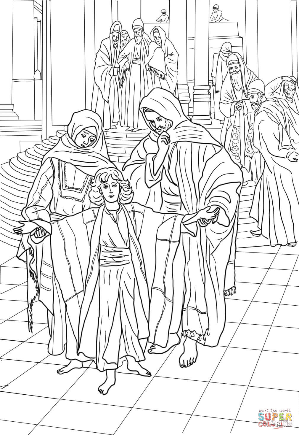 12 Year Old Jesus Found In The Temple Coloring Page Free