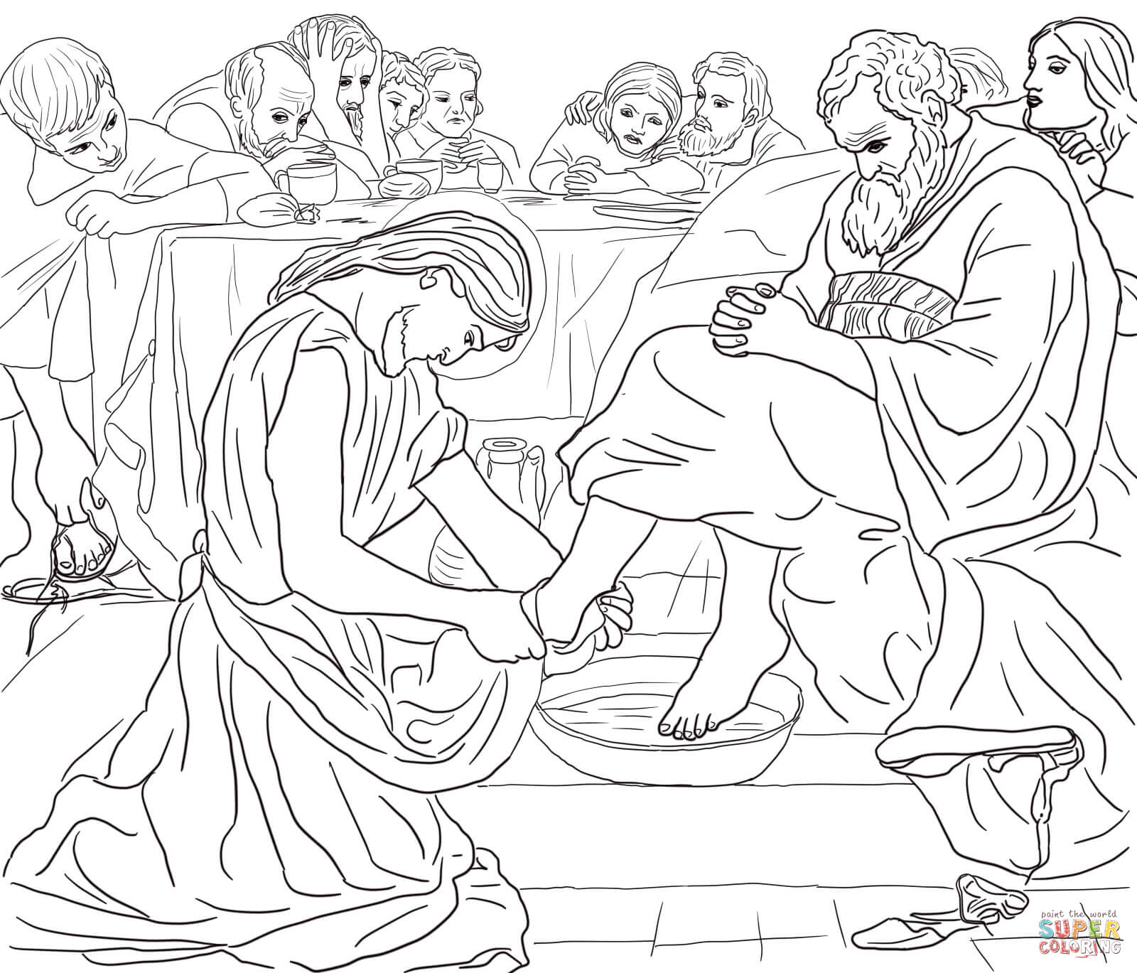 Christ Washing Peters Feet Coloring Page