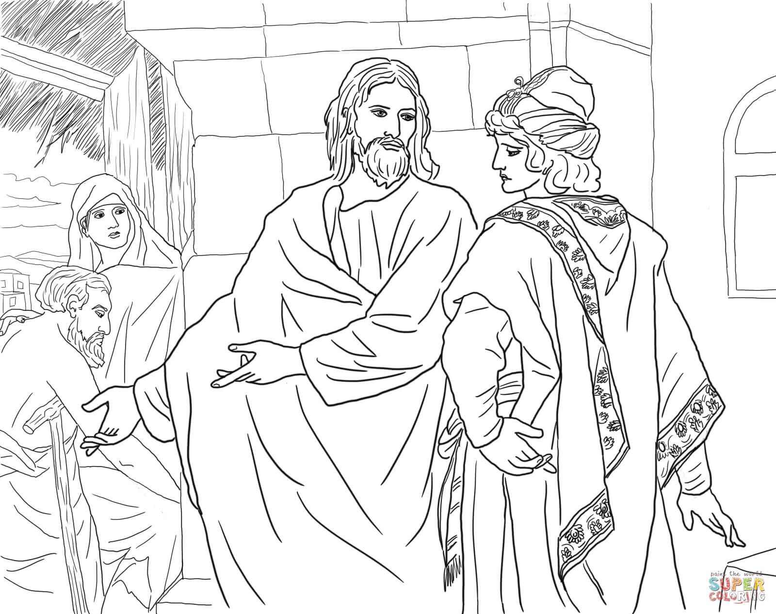 Jesus And The Rich Young Man Coloring Page