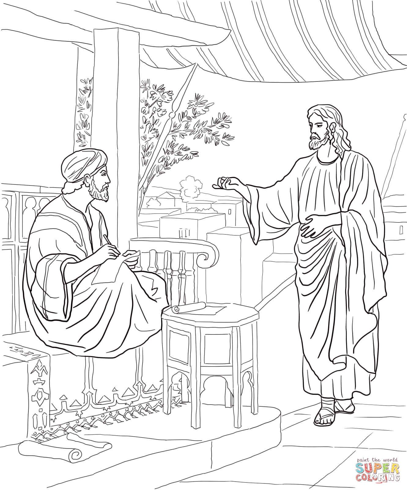 Jesus Calls Matthew Coloring Page