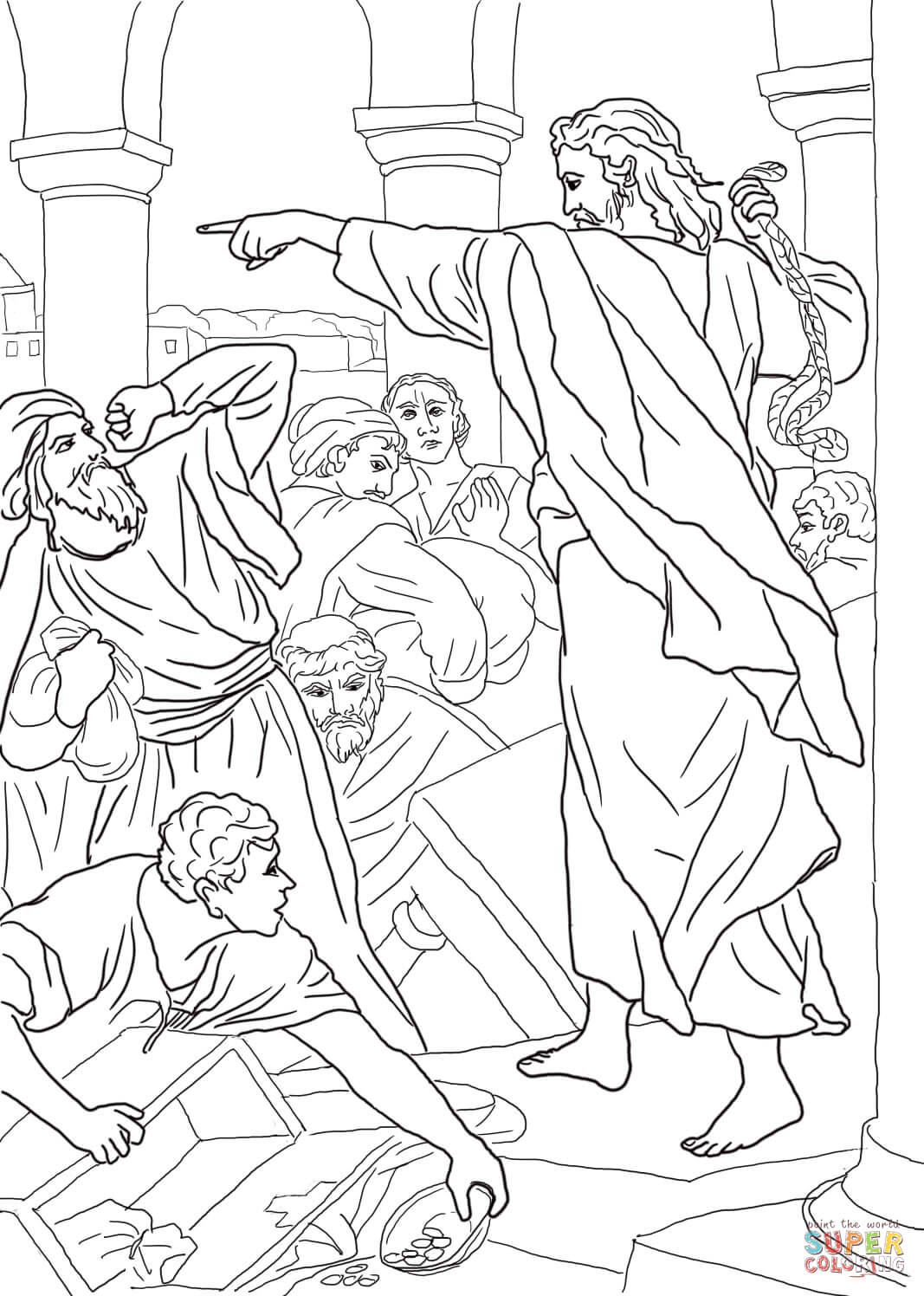 Jesus Chasing The Money Changers From The Temple Coloring