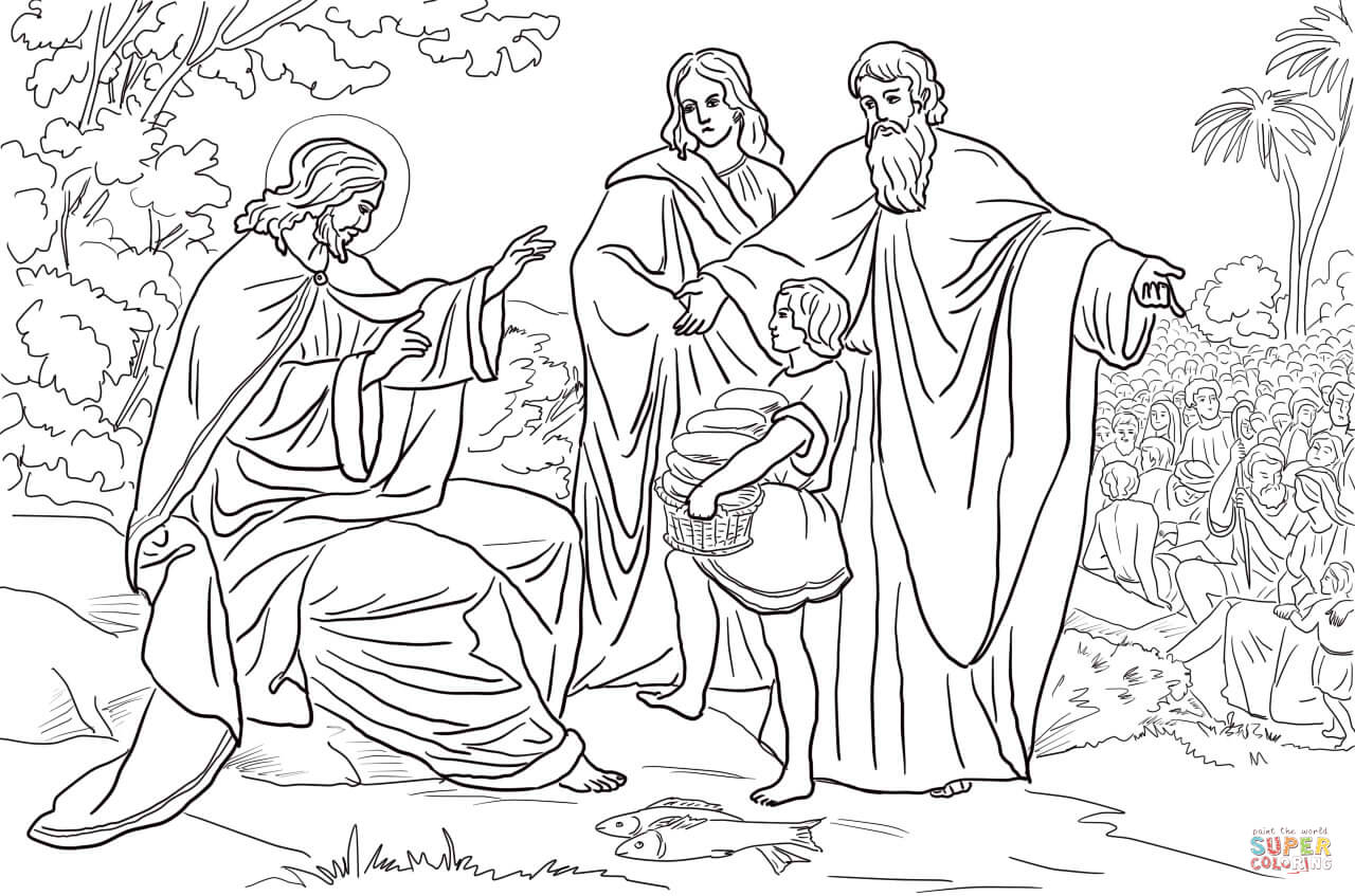 Jesus Feeds 5000 People Coloring Page Free Printable Coloring Pages