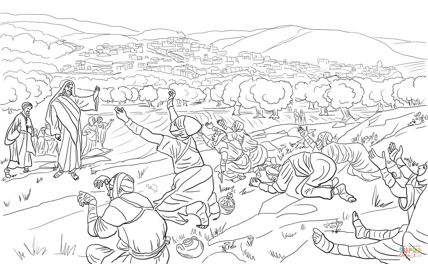 Jesus Healed 10 Lepers Coloring Page