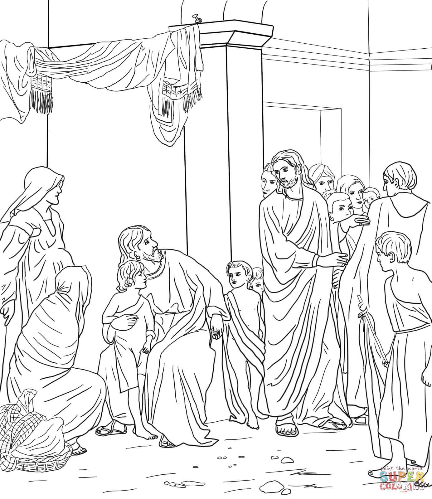 Let The Little Children Come Unto Jesus Coloring Page