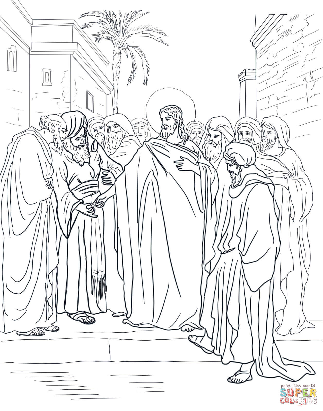 Pharisees Question Jesus About Taxes Coloring Page