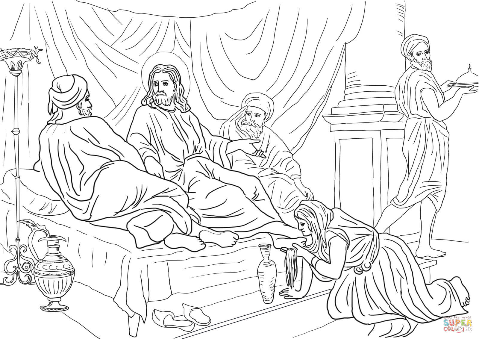 Woman Washing Jesus Feet With Her Hair Coloring Page