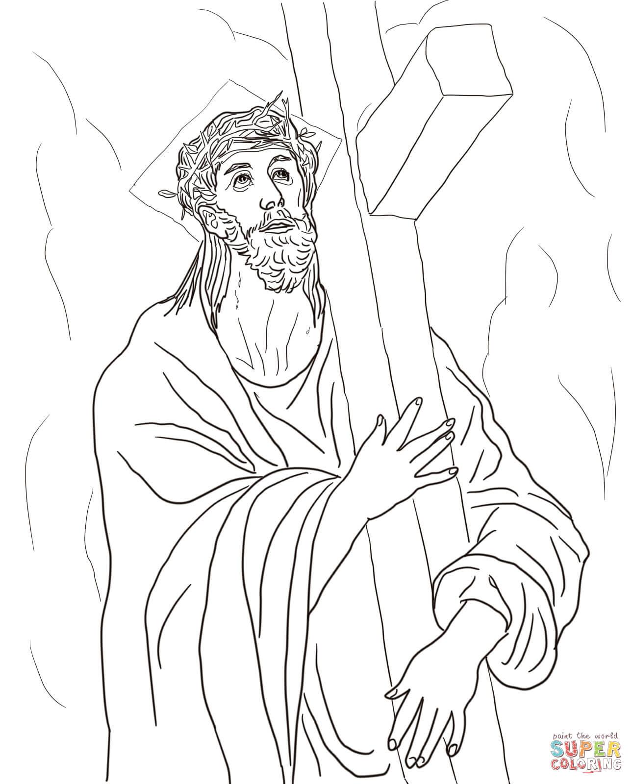 Dibujo De Segunda Estacion Jesus Carga Su Cruz Para