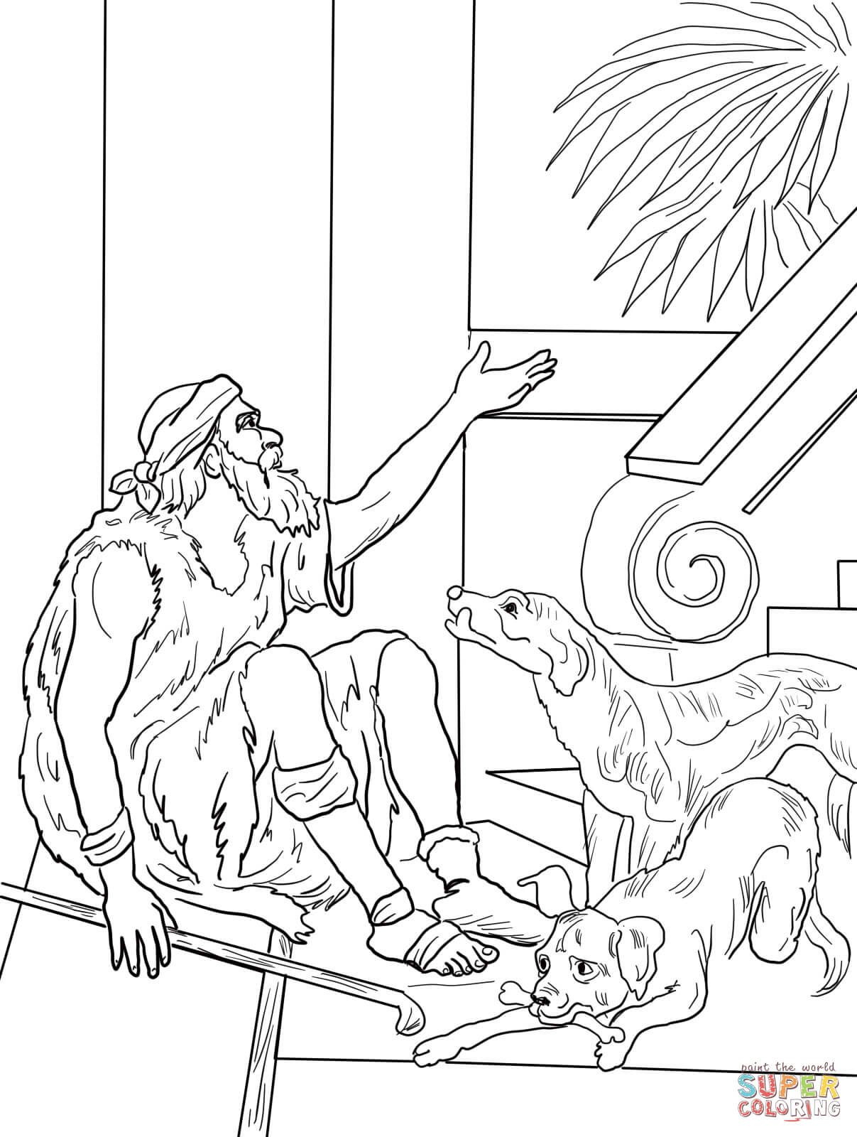 Lazarus And The Rich Man Coloring Page