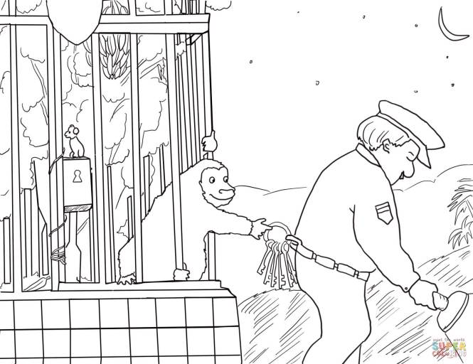 good night gorilla coloring page free printable pages - Gorilla Coloring Pages