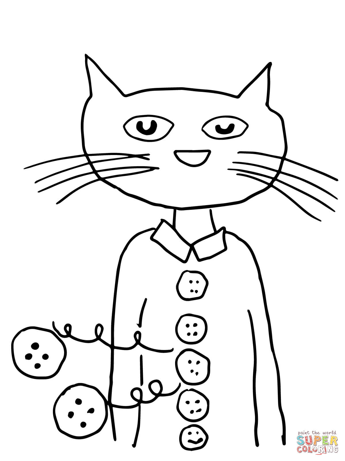 Pete The Cat Groovy Buttons Coloring Page
