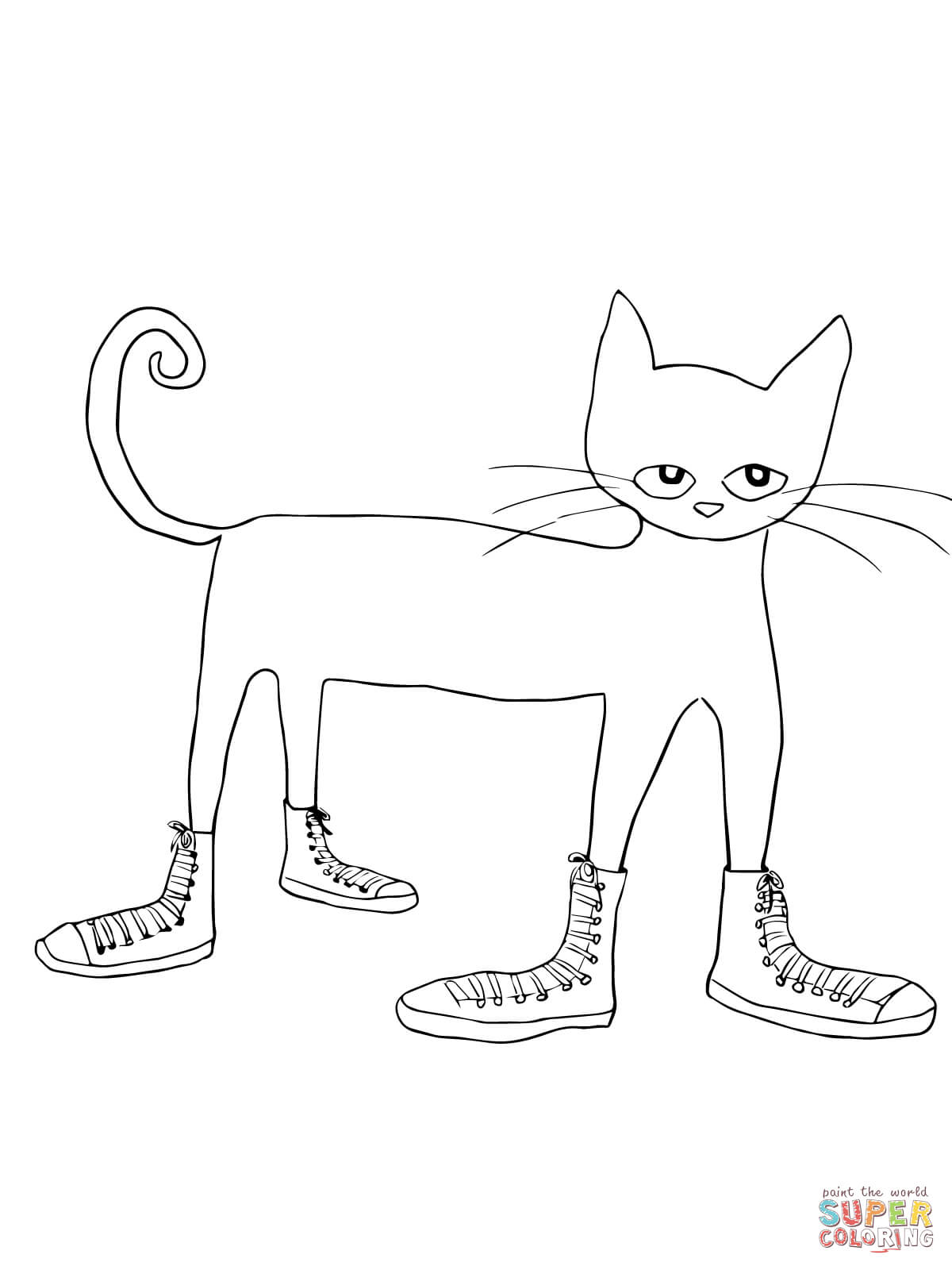 Pete The Cat I Love My White Shoes Coloring Page