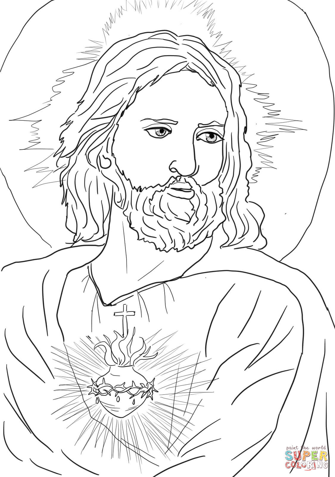 sacred heart of jesus coloring page free printable coloring pages