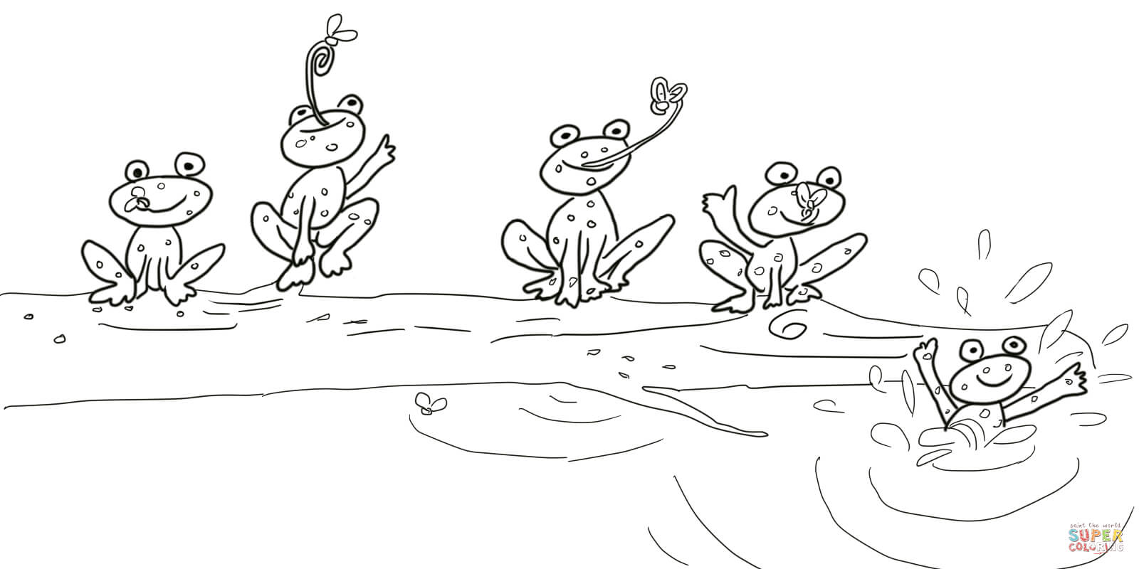 5 Little Speckled Frogs Coloring Page