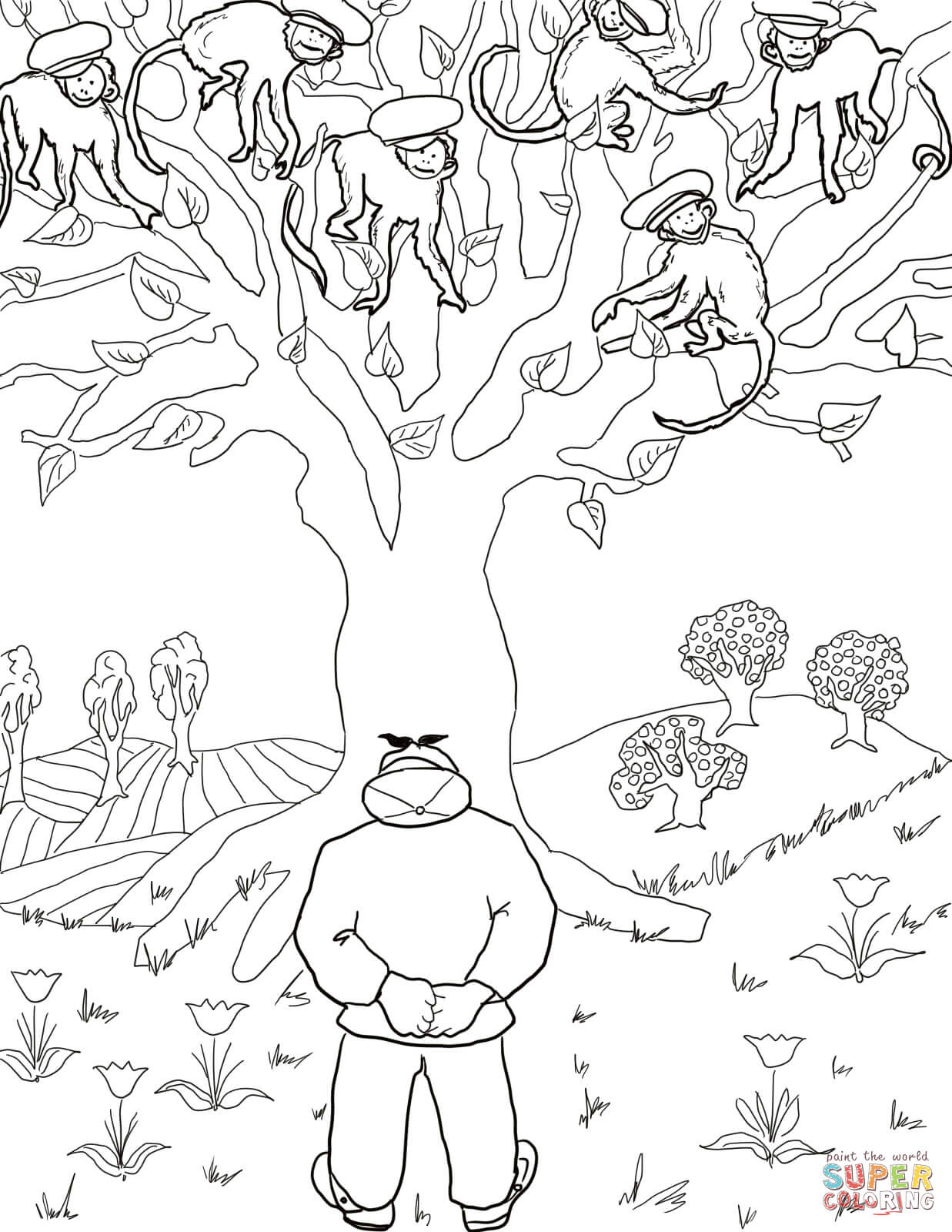 Caps Gets Stolen By The Monkeys Coloring Page