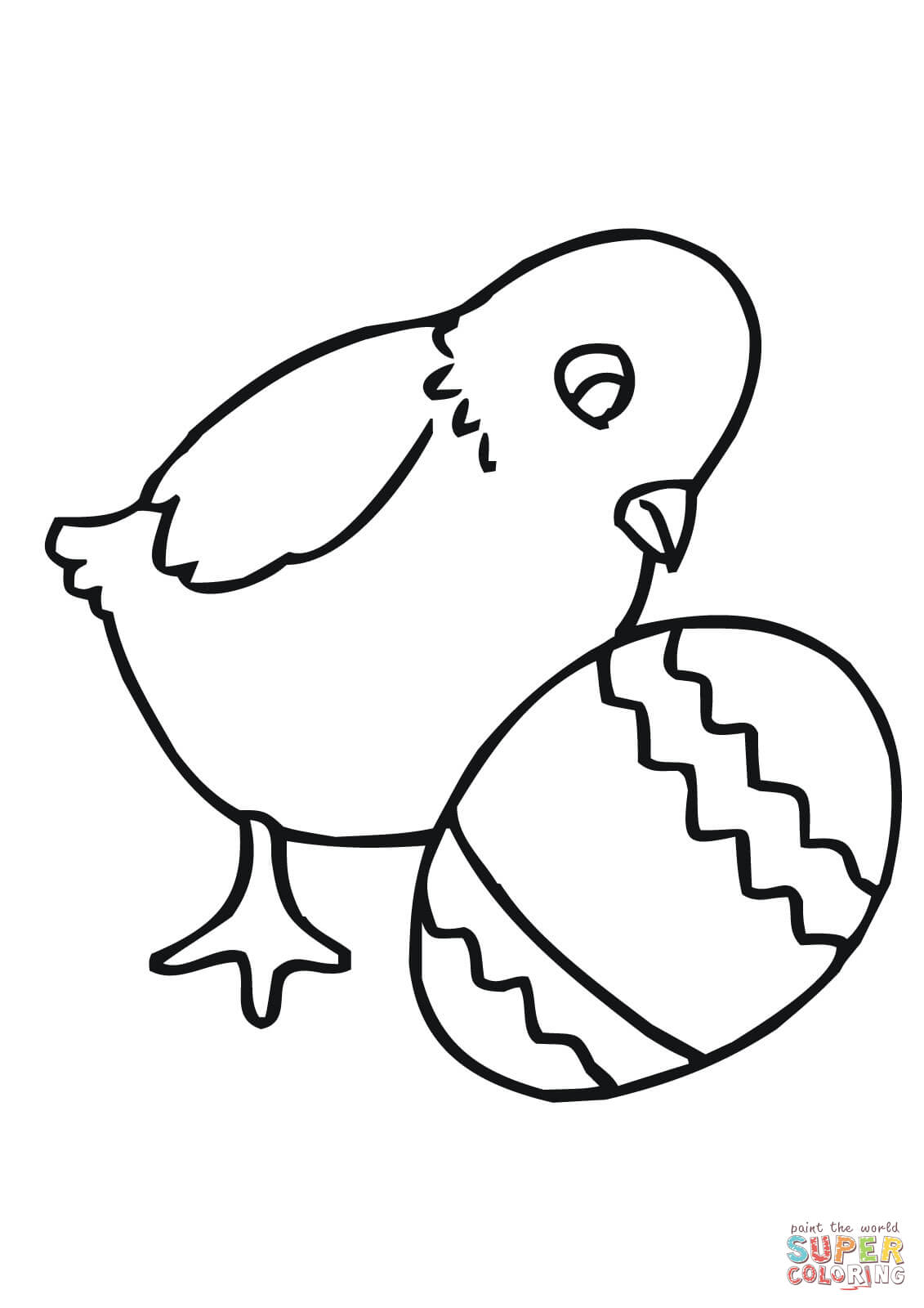 Easter Chick With Egg Coloring Page