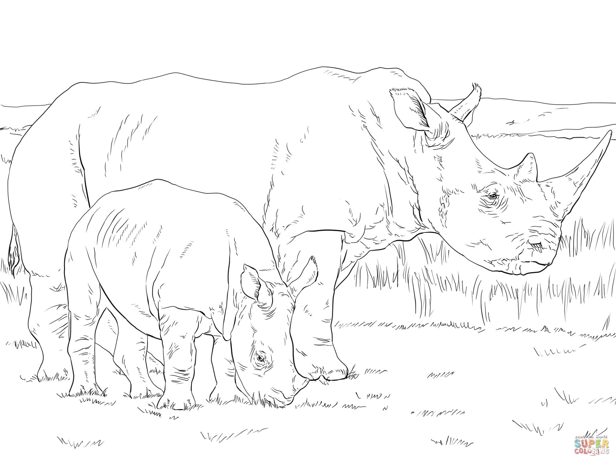 white rhino mother and baby coloring page supercoloring com