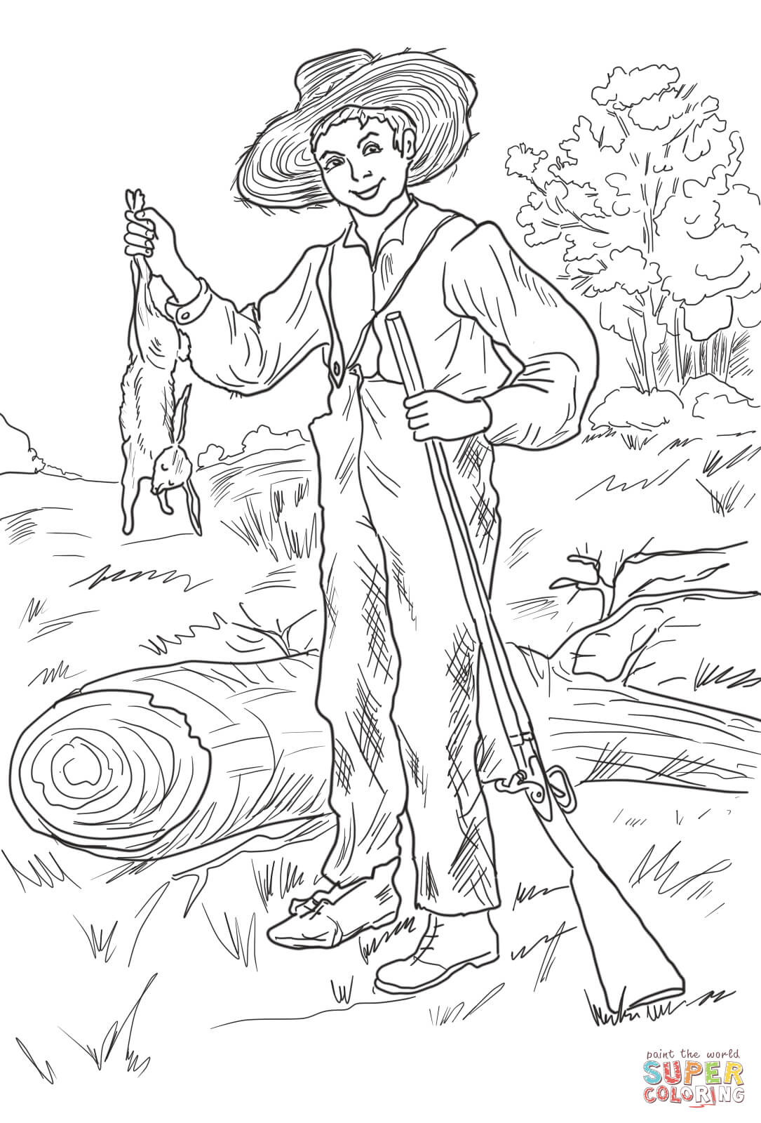 Huckleberry Finn With Rabbit Coloring Page