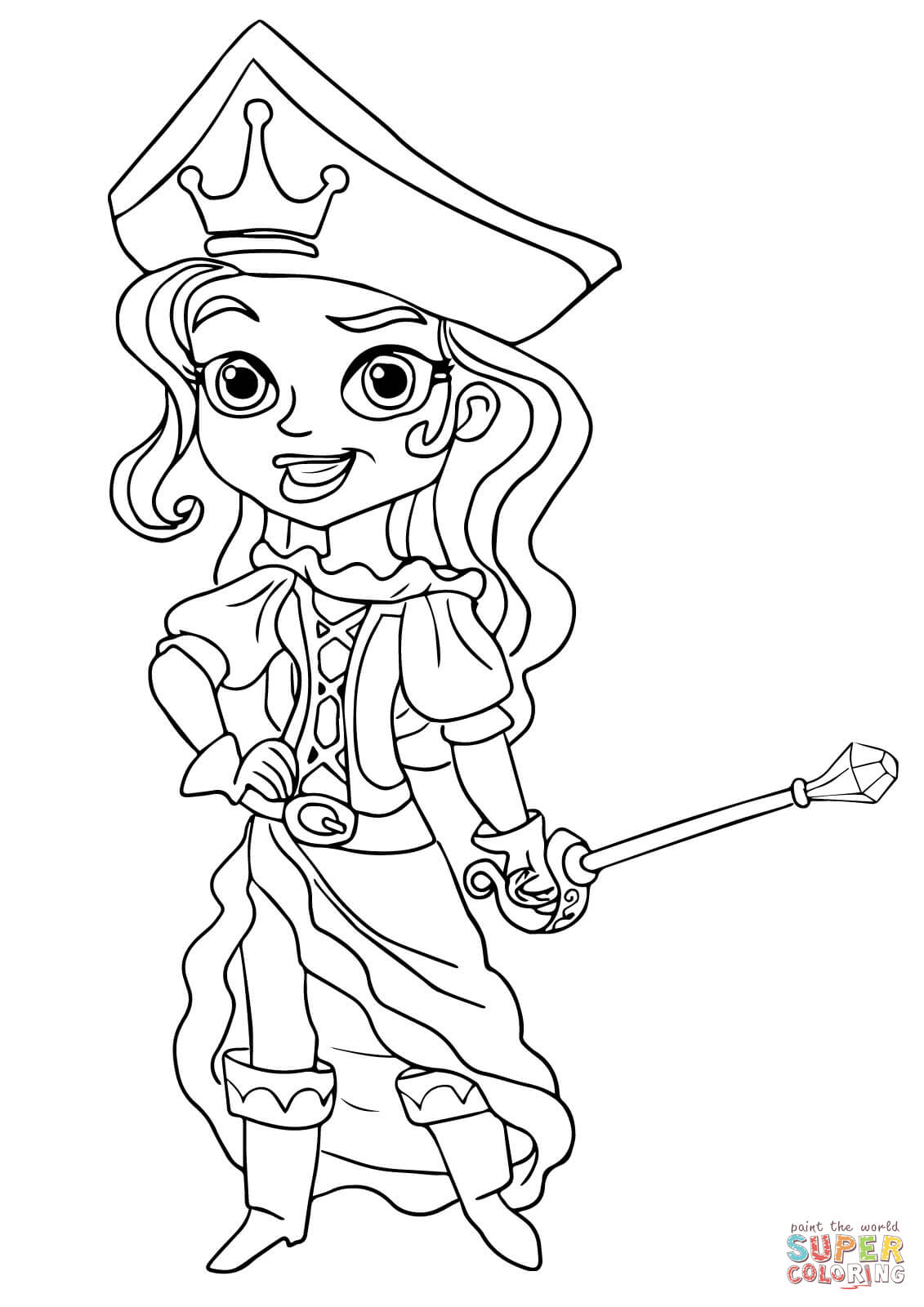 the pirate princess coloring page free printable coloring pages