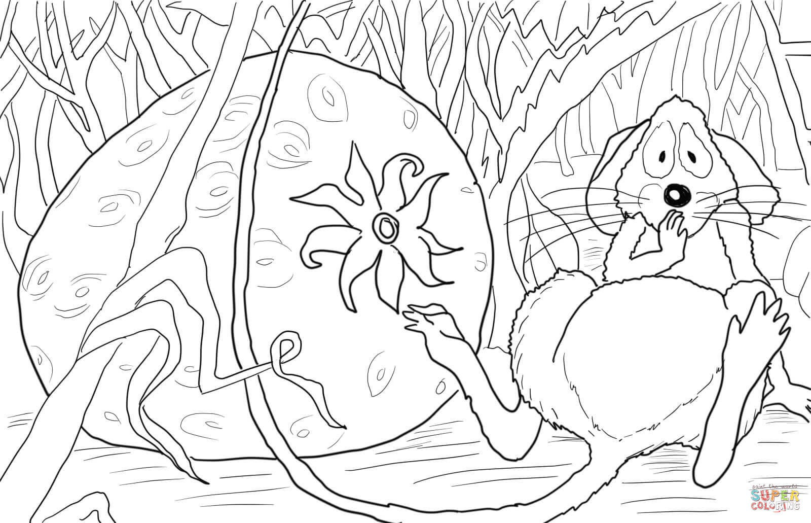 The Little Mouse The Red Ripe Strawberry Coloring Page