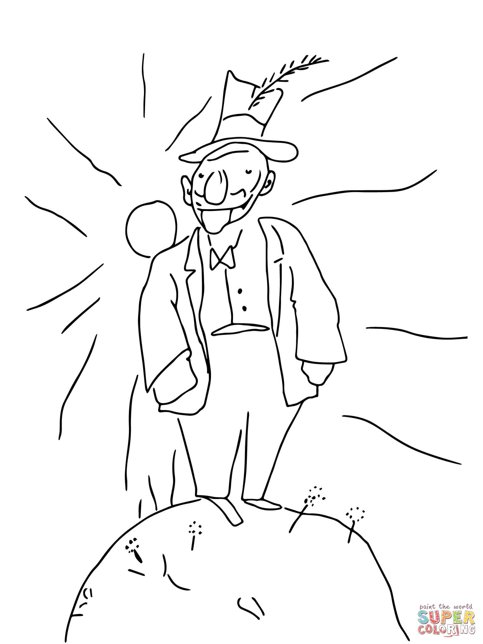 conceited man planet coloring page free printable coloring pages
