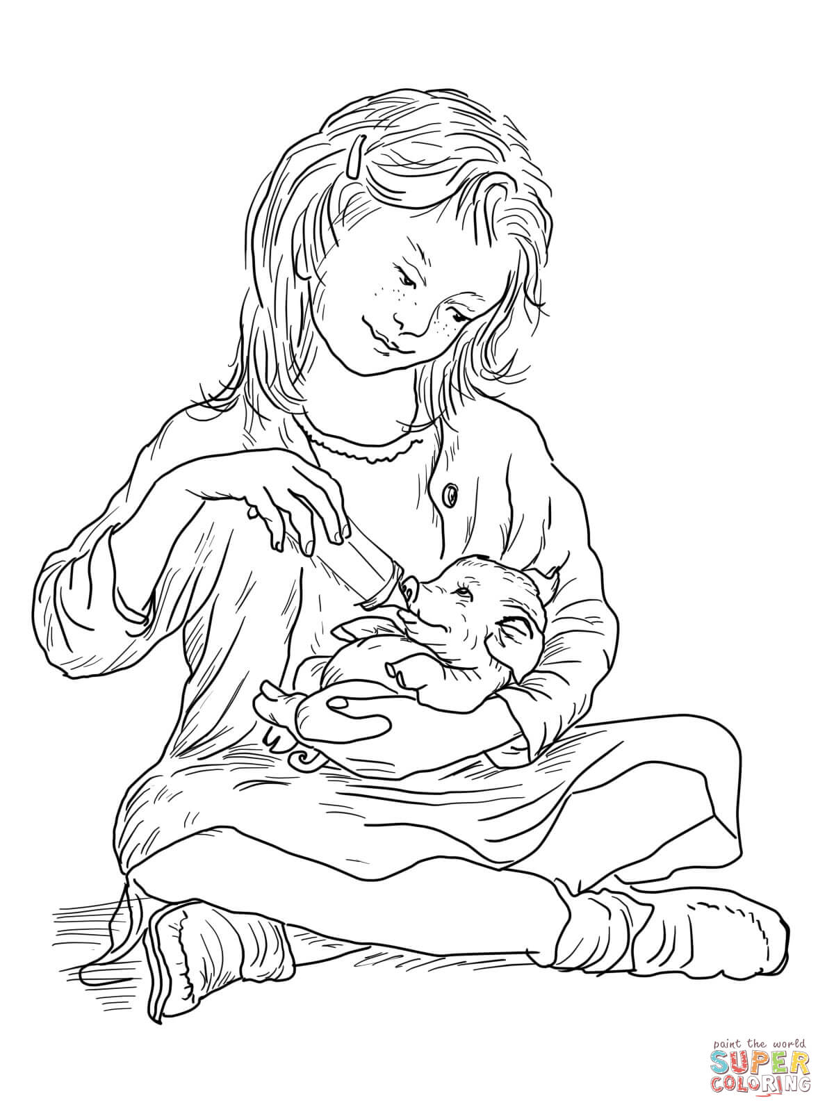 Fern Feeding Wilbur Coloring Page