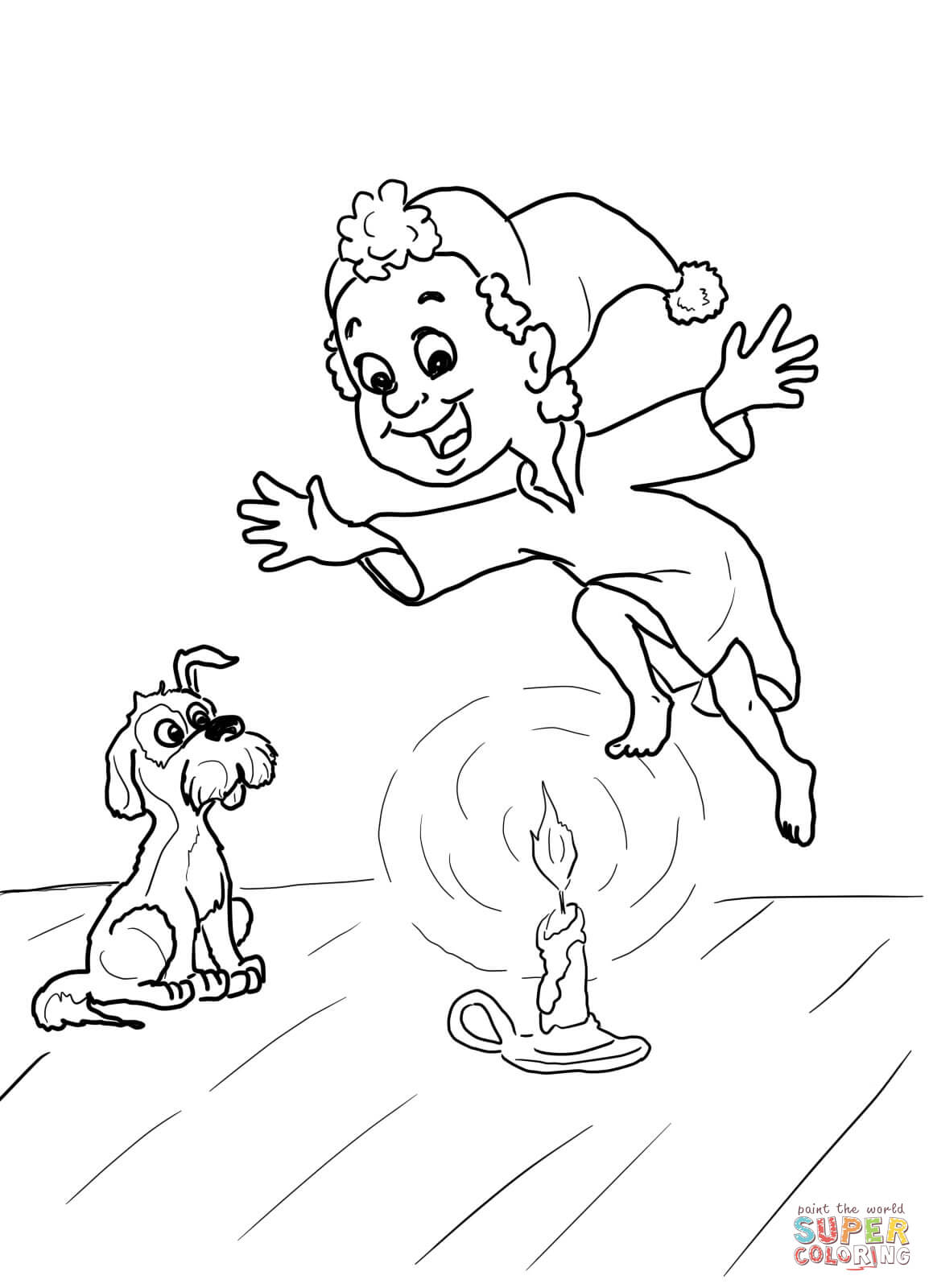 Jack Be Nimble Nursery Rhyme Coloring Page