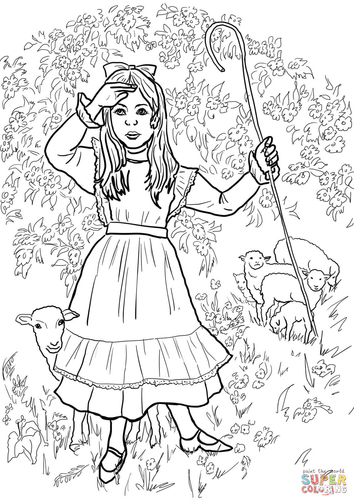 Little Bo Peep Nursery Rhyme Coloring Page