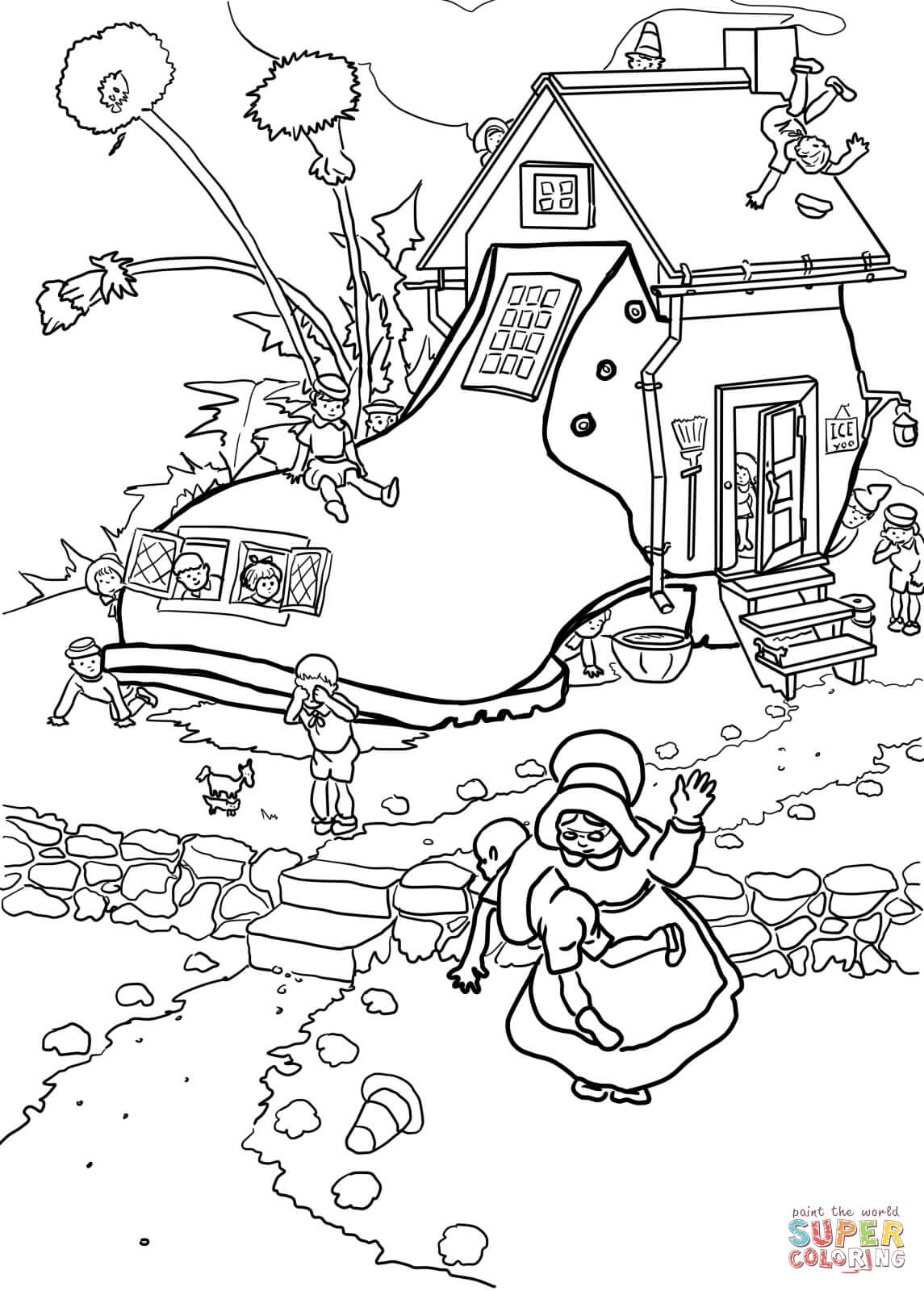 Old Lady Who Lived In A Shoe Coloring Page Kids Coloring Pages Download