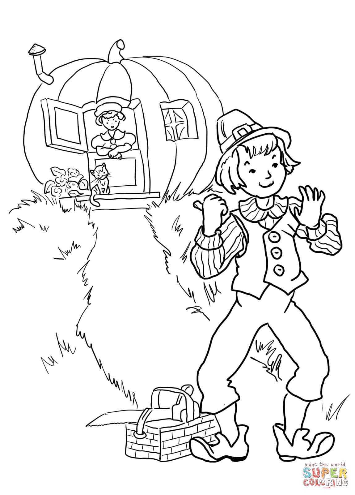 Peter Pumpkin Eater Nursery Rhyme Coloring Page