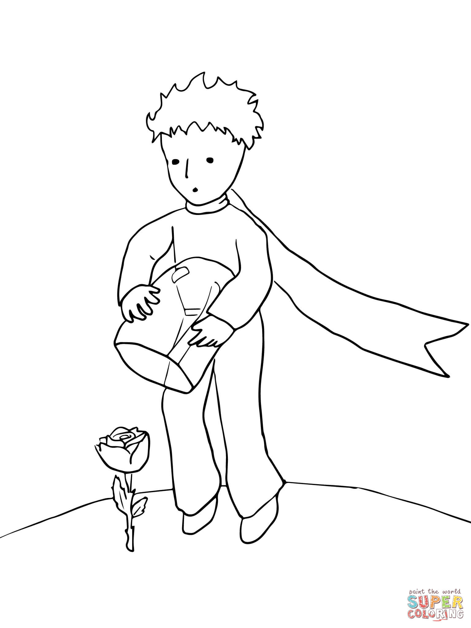 The Little Prince Protects His Rose Coloring Page Free Printable