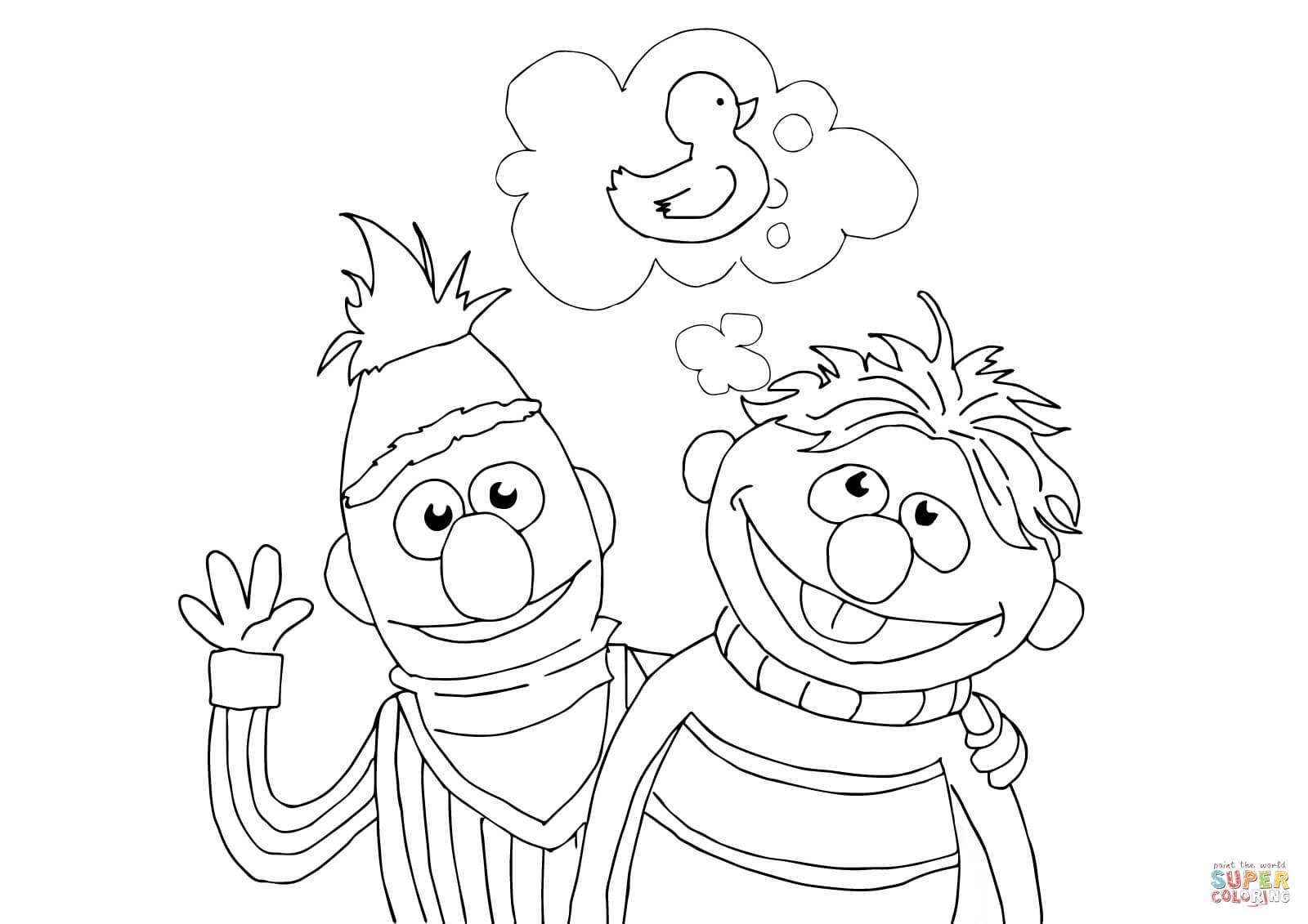 Ausmalbild Ernie Bert Und Quietsche Entchen